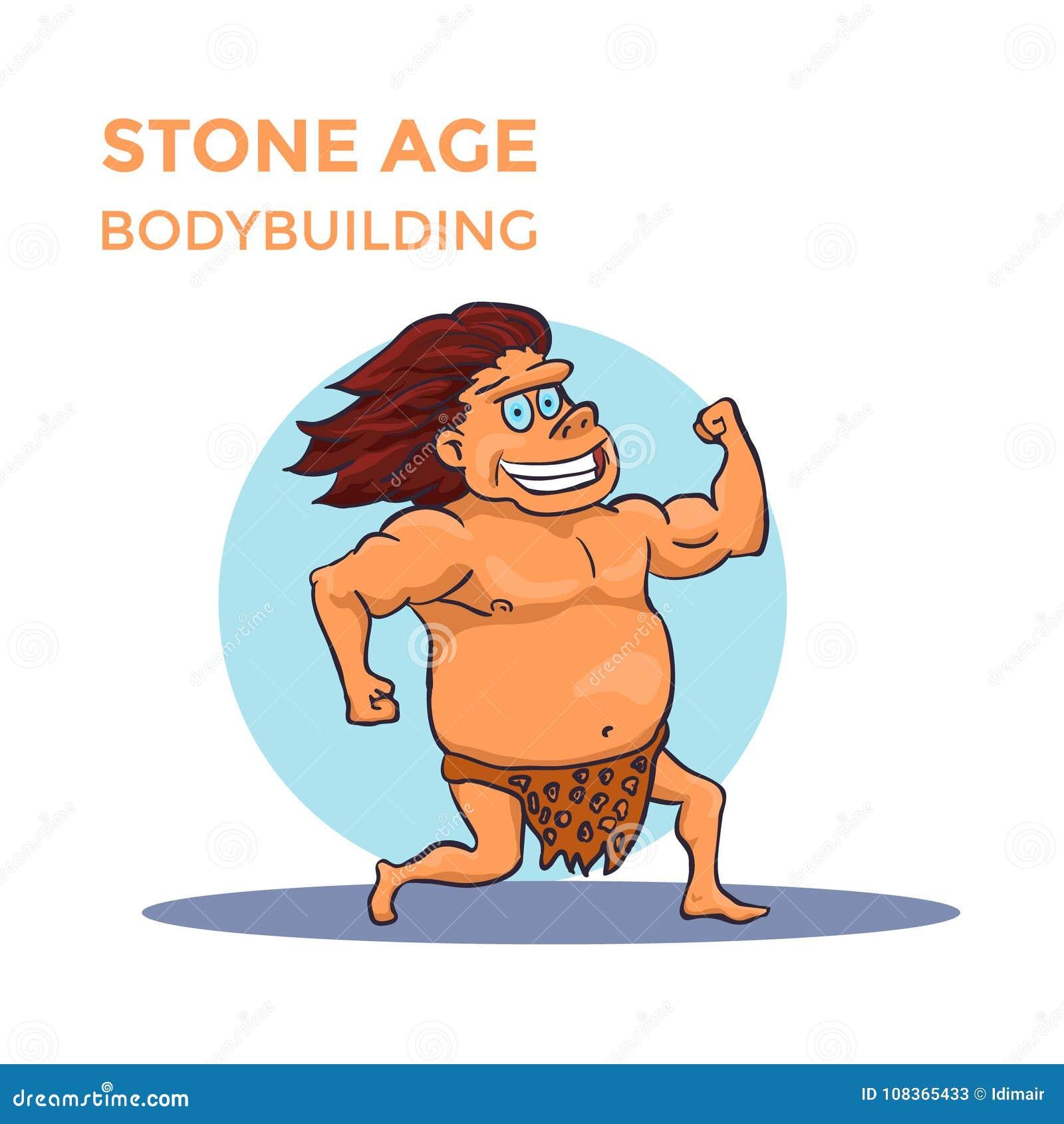 O Homem De Caverna Tirado Mao Da Idade Da Pedra Dos Desenhos