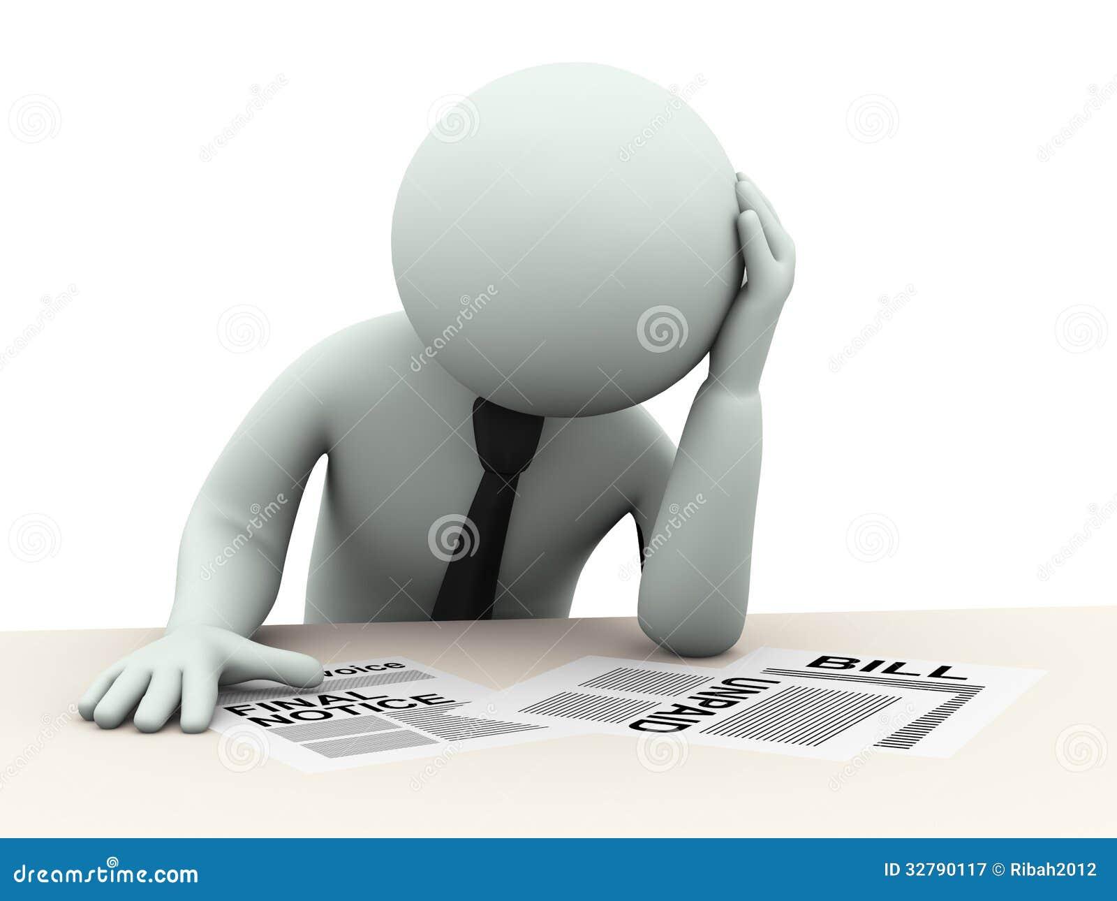 O homem de negócio 3d preocupou-se sobre contas