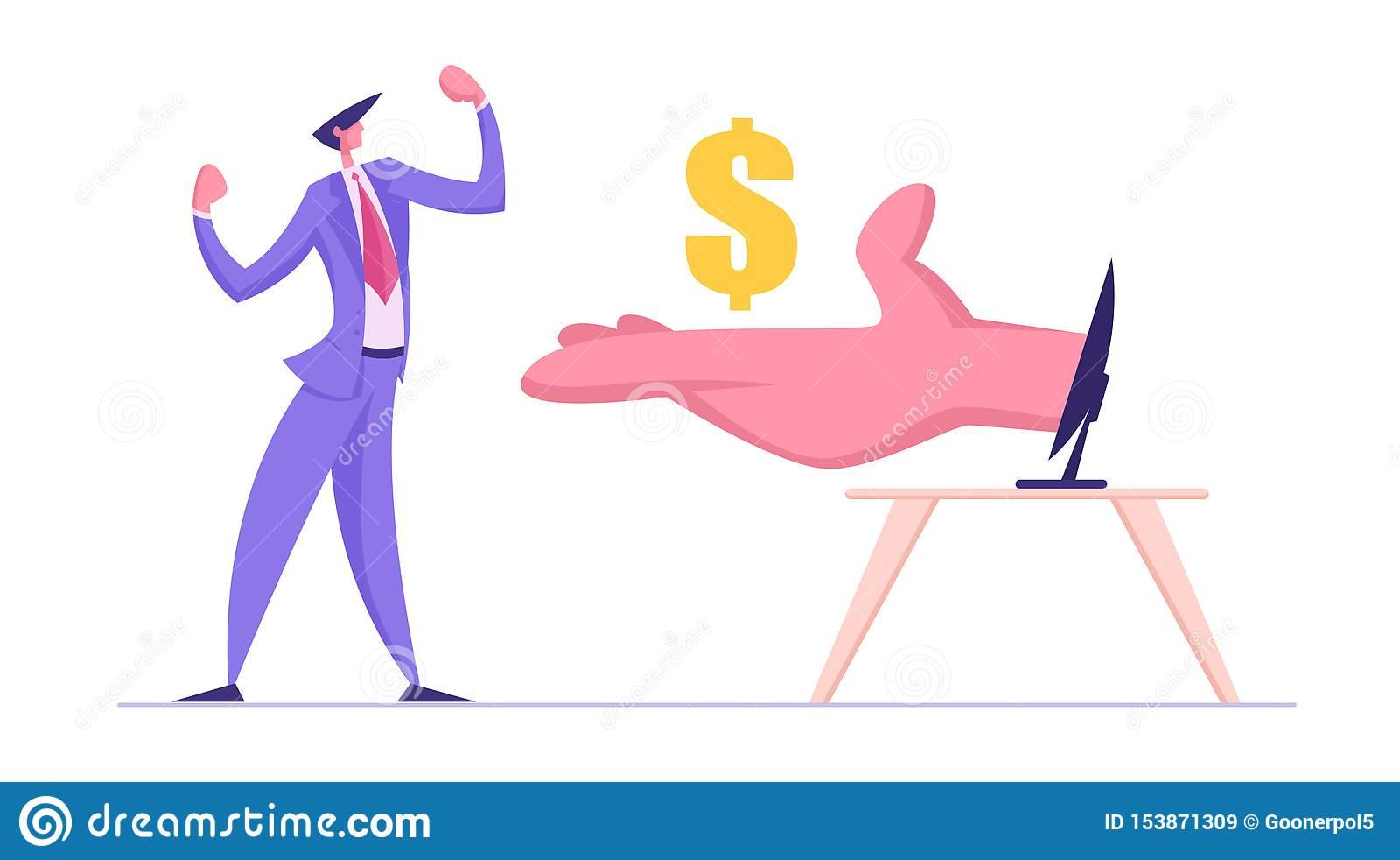 O homem de negócio demonstra os músculos recebe dólares da mão enorme do monitor do computador Conceito do sal?rio do Internet
