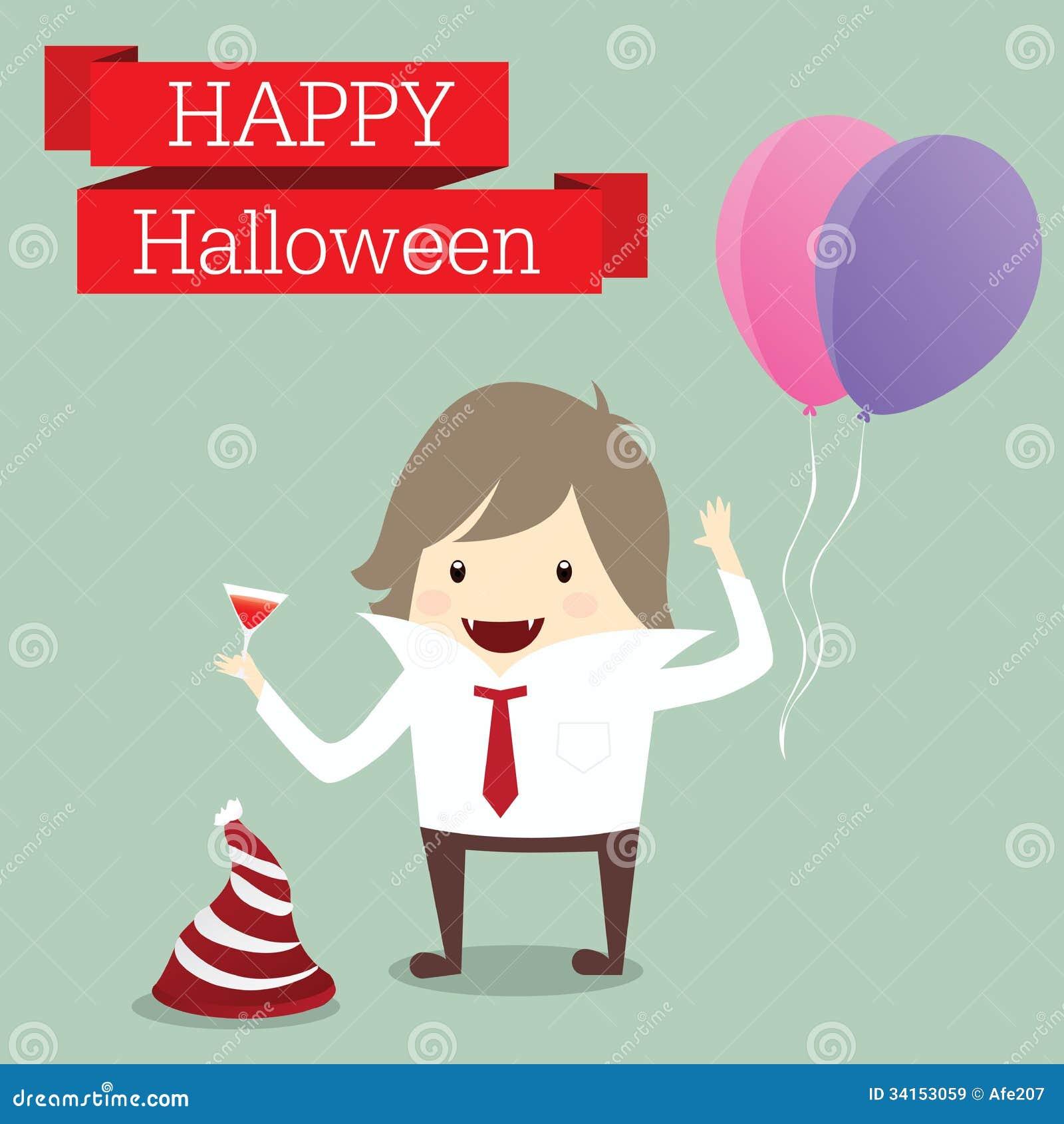O homem de negócios é senhor do evento feliz r do partido do dia do Dia das Bruxas do vampiro