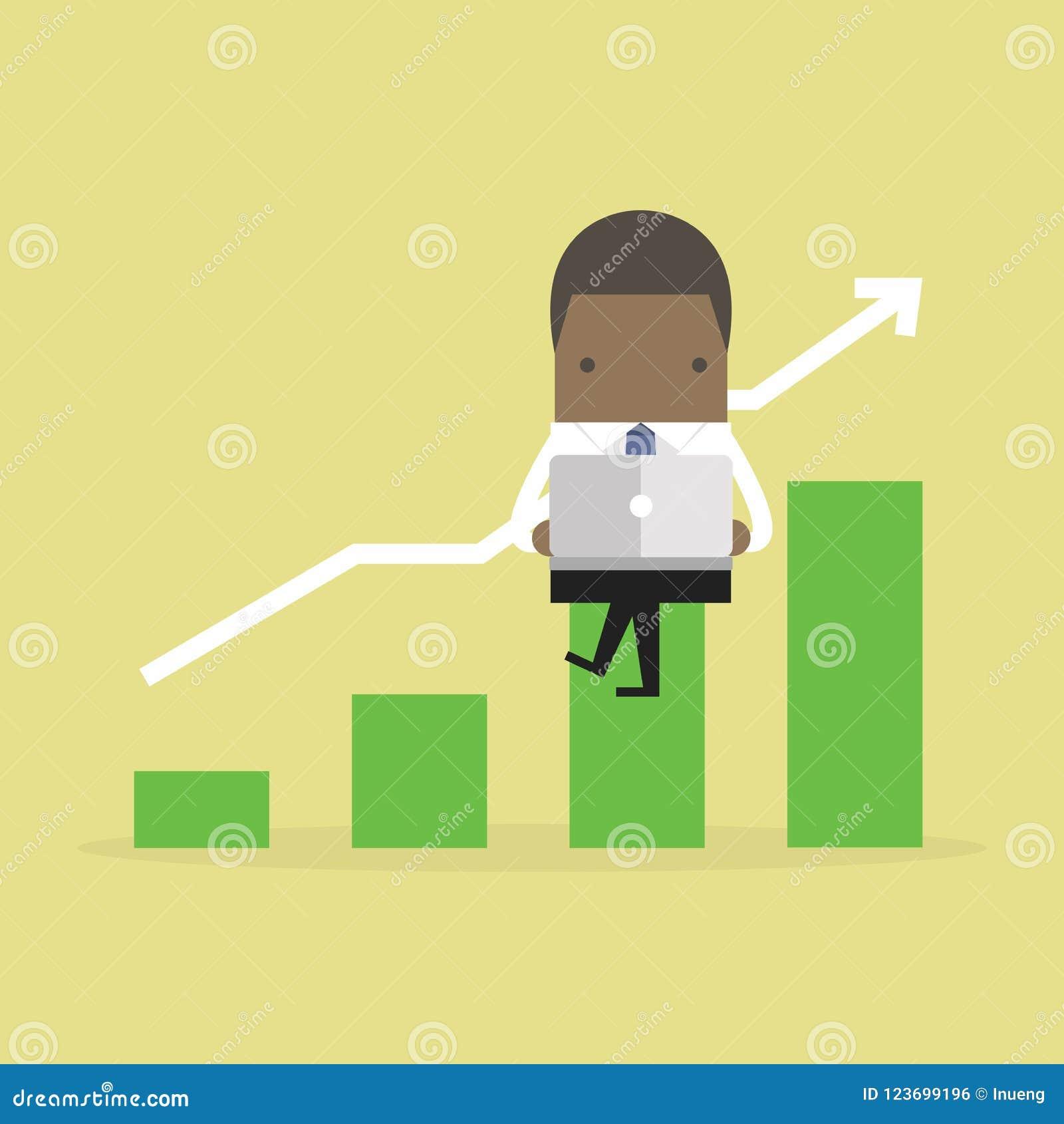 O homem de negócios africano acorda cedo Homem de negócios africano com gráfico crescente do caderno e da verificação