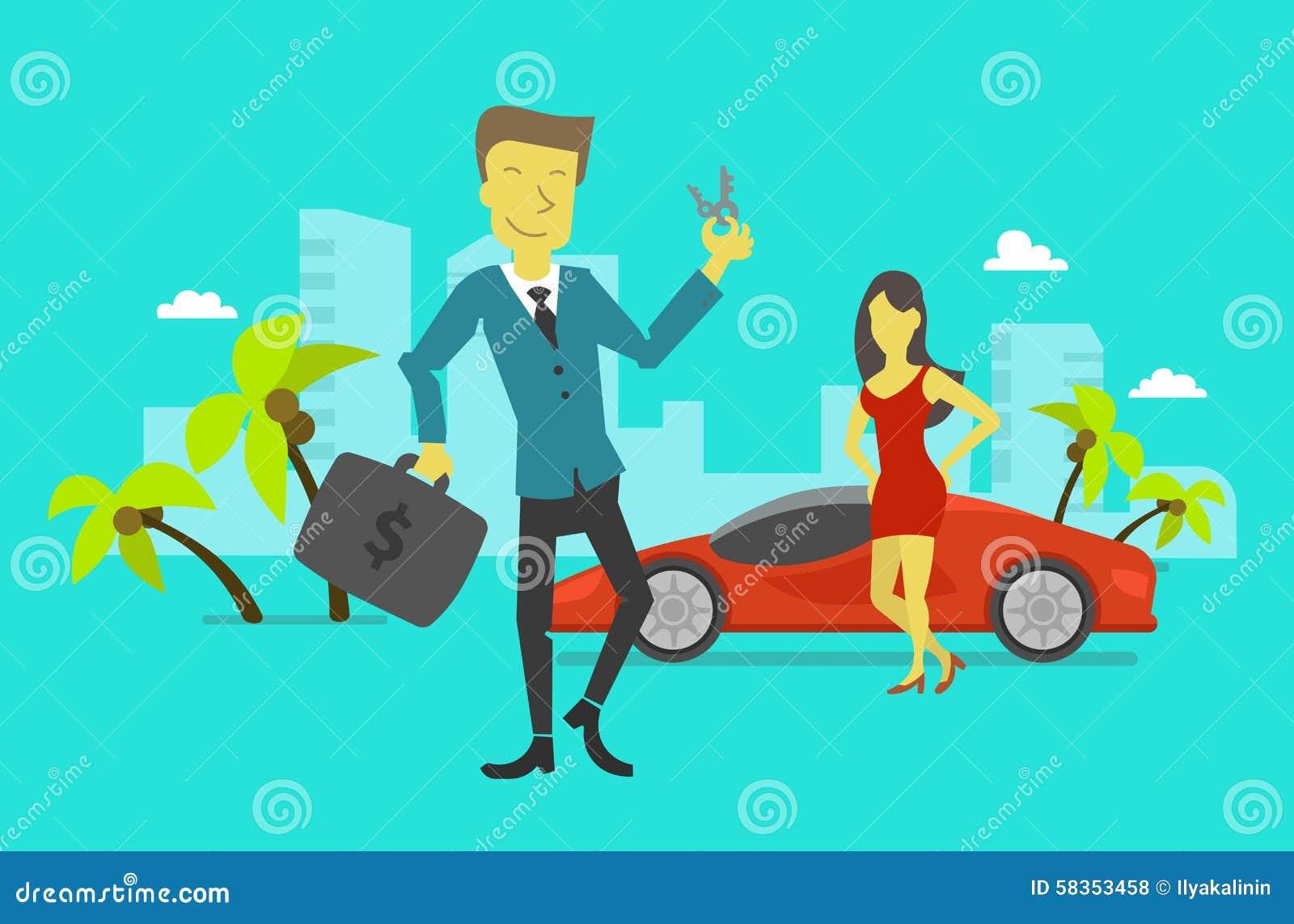 O homem de negócios alcançou o sucesso Vencimento das chaves do carro
