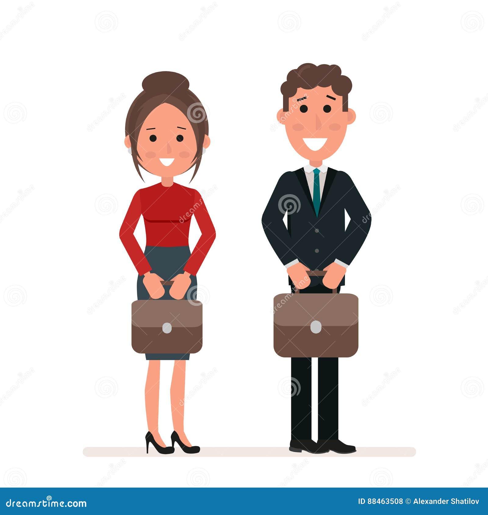 O homem de negócios e a mulher de negócios ou os gerentes estão estando com as malas de viagem em suas mãos Trabalhadores de escr