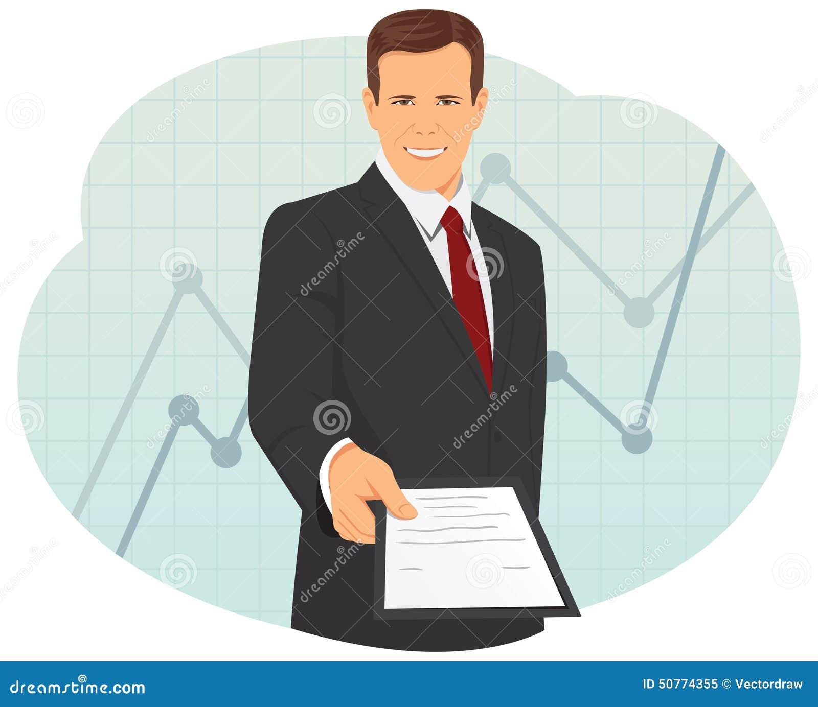 O homem de negócios está dando um contrato