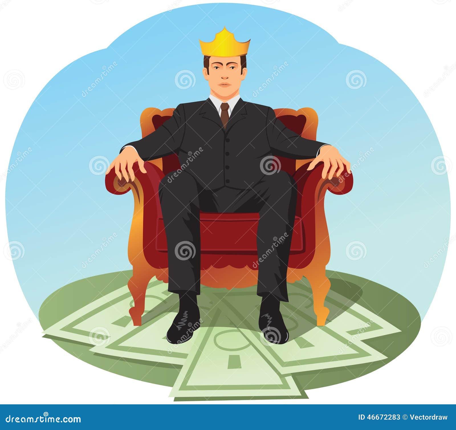 O homem de negócios está sentando-se como um rei