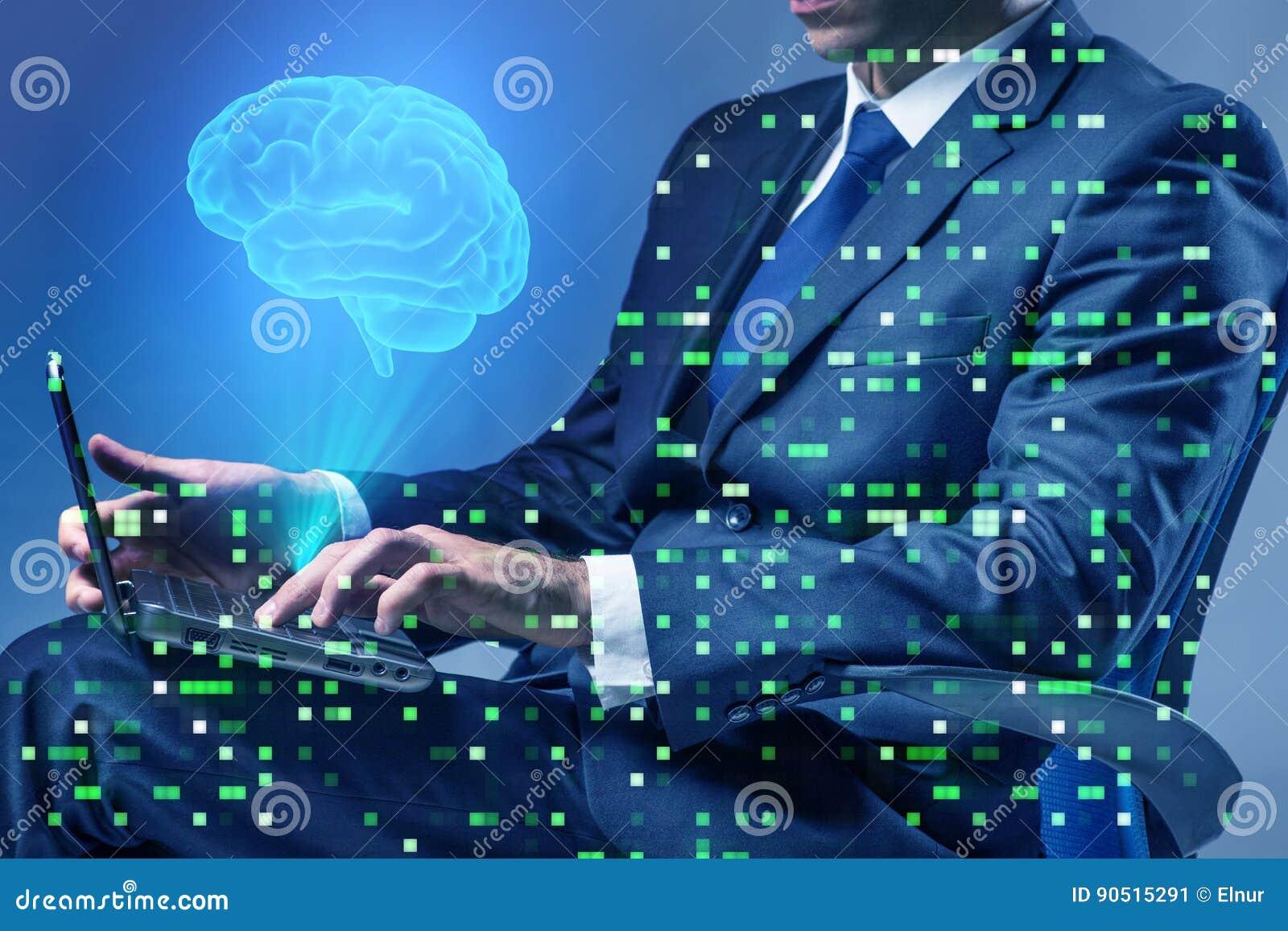 O homem de negócios no conceito da inteligência artificial