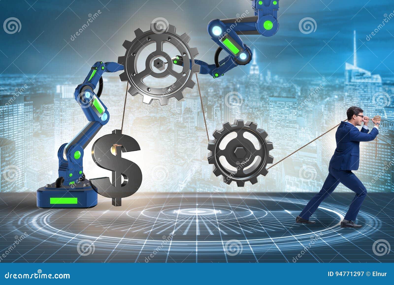 O homem de negócios que puxa o mecanismo e que levanta o dólar