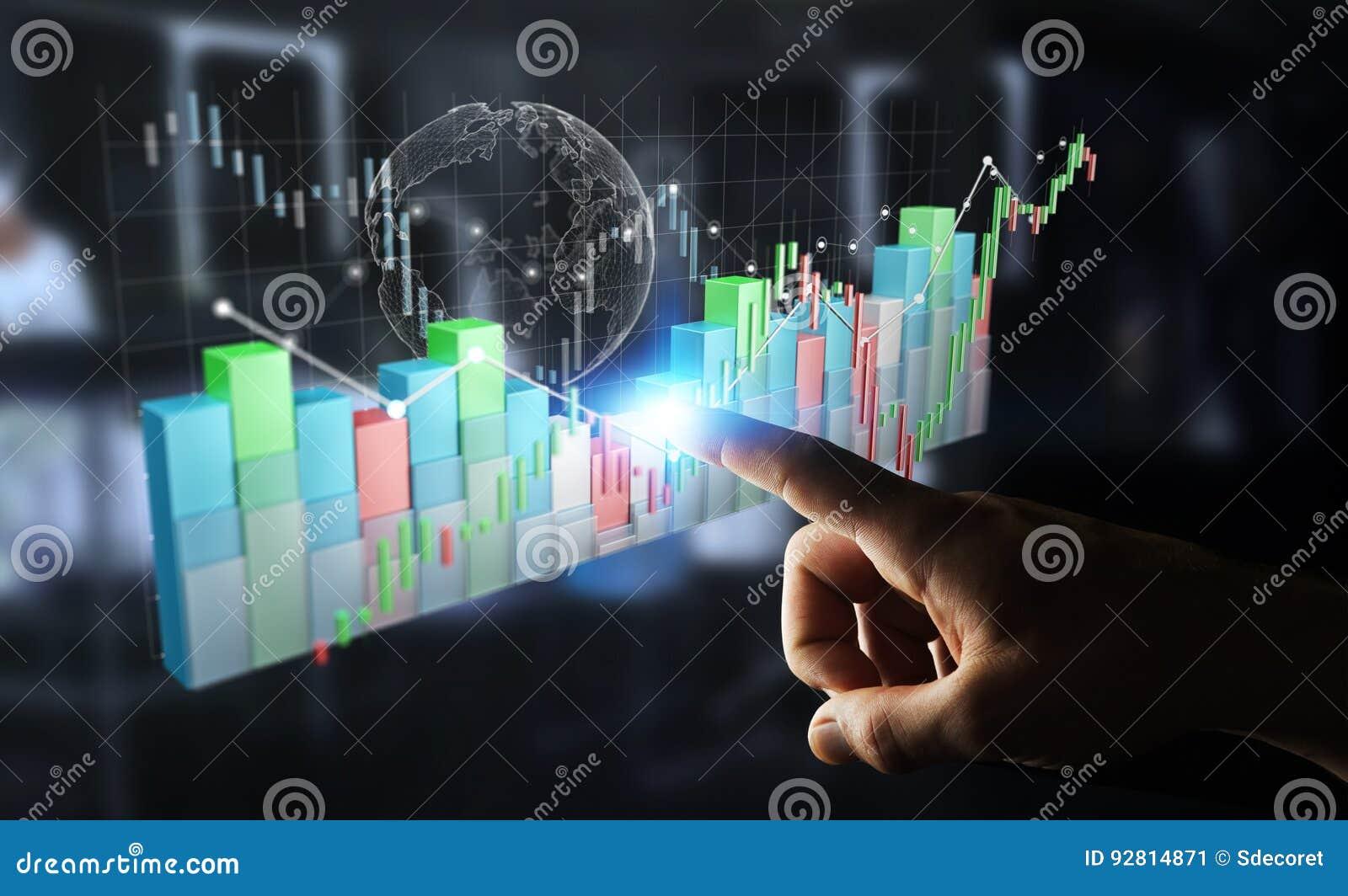 O homem de negócios que usa 3D digital rendeu o stats e o c da bolsa de valores