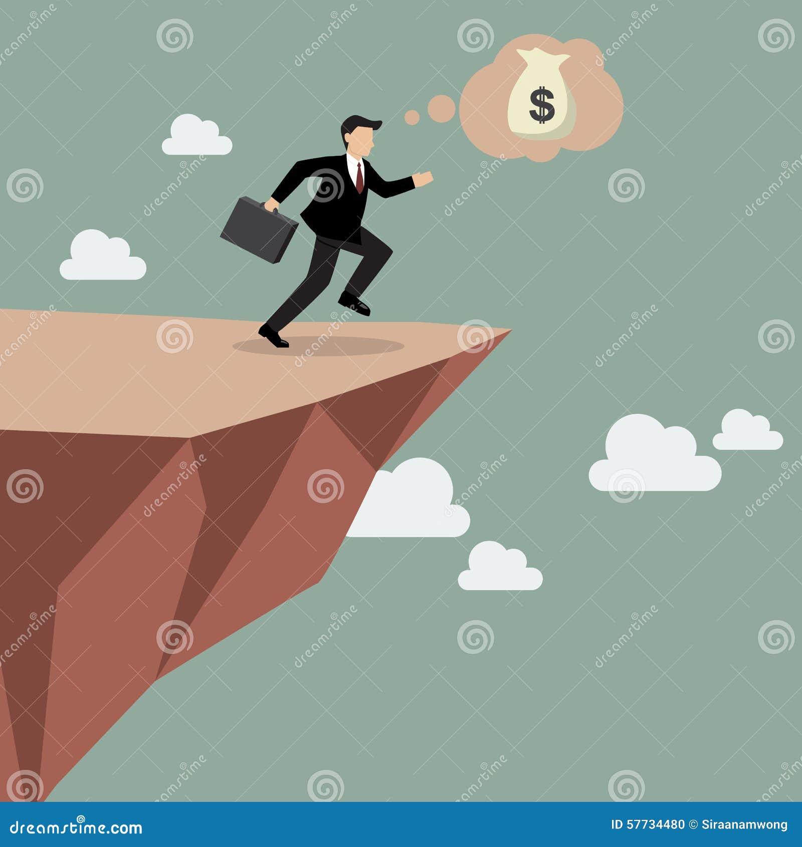 O homem de negócios toma um pulo da fé em Clifftop