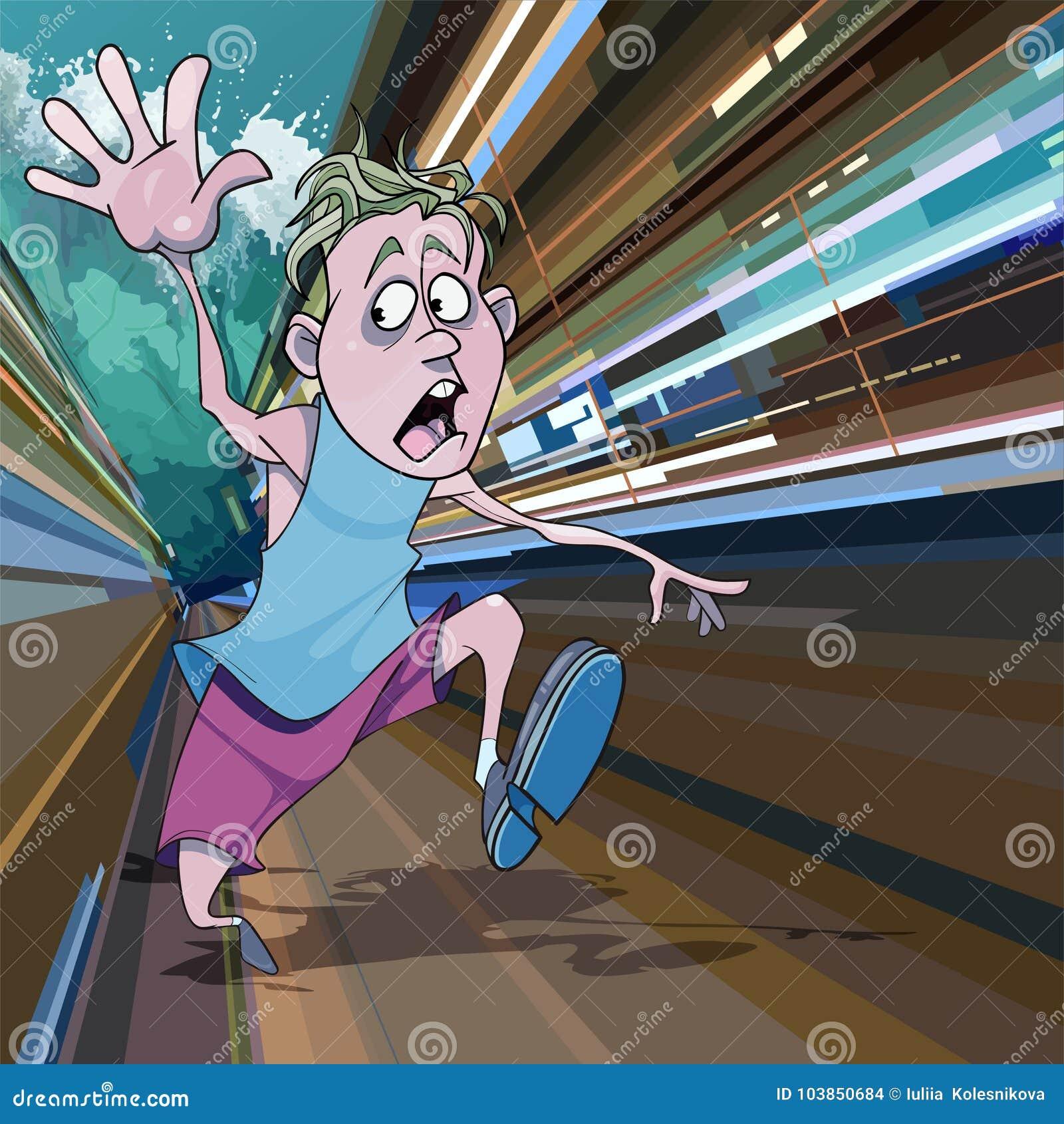 O homem dos desenhos animados que corre afastado no medo do tsunami gigante acena