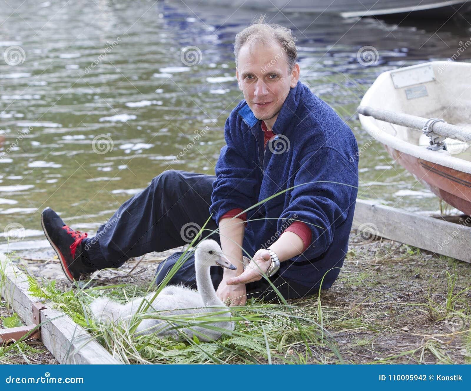 O homem e uma cisne nova no lago em terra