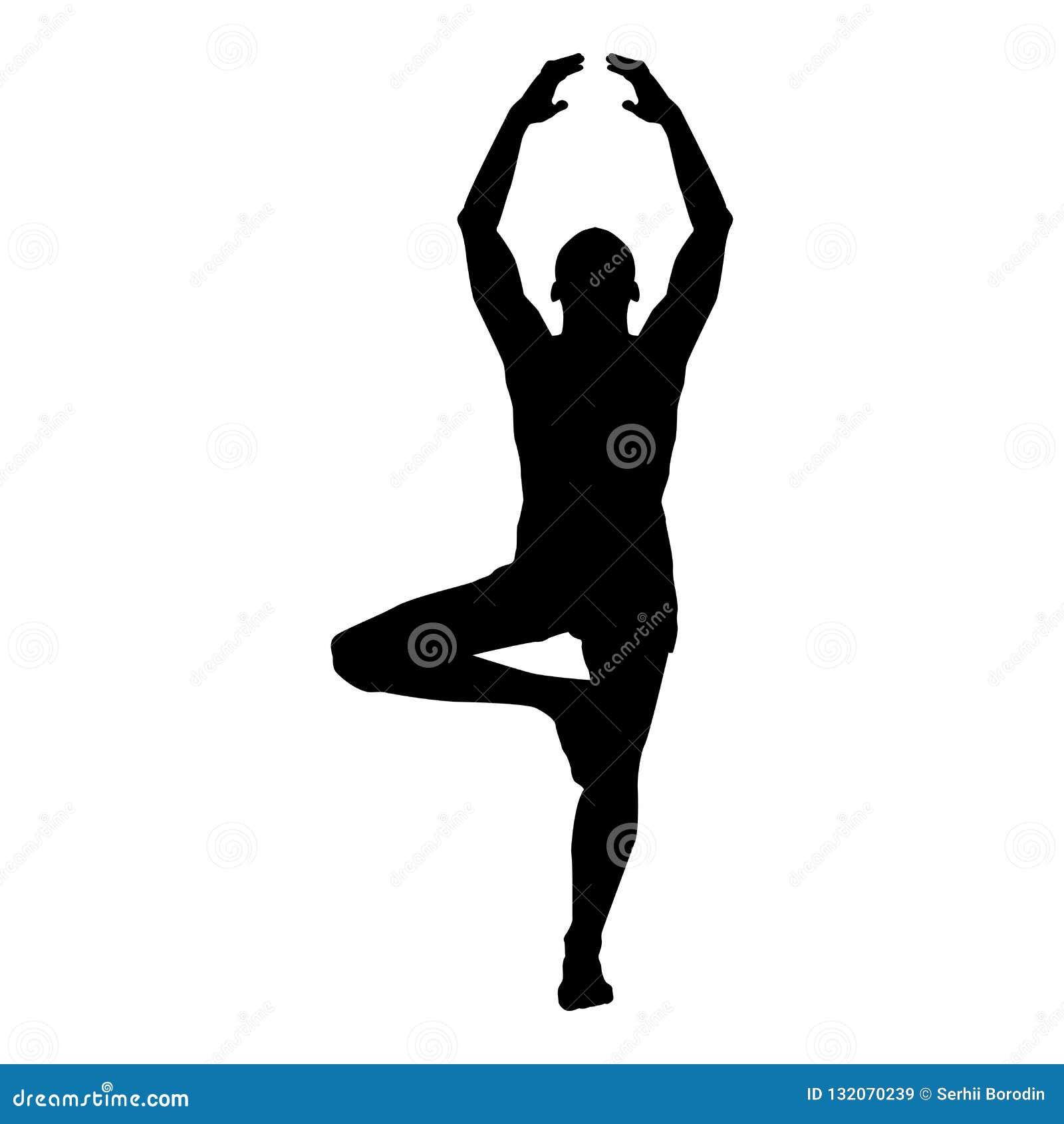O homem está na posição de lótus que faz a ilustração de cor do preto do ícone da silhueta da ioga
