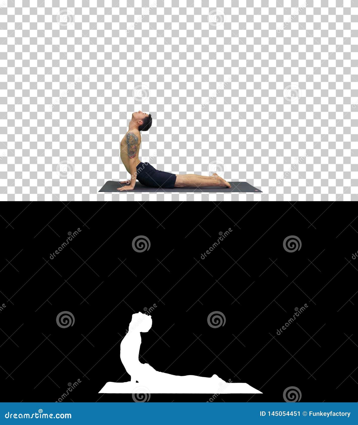 O homem est? fazendo poses da ioga, Alpha Channel