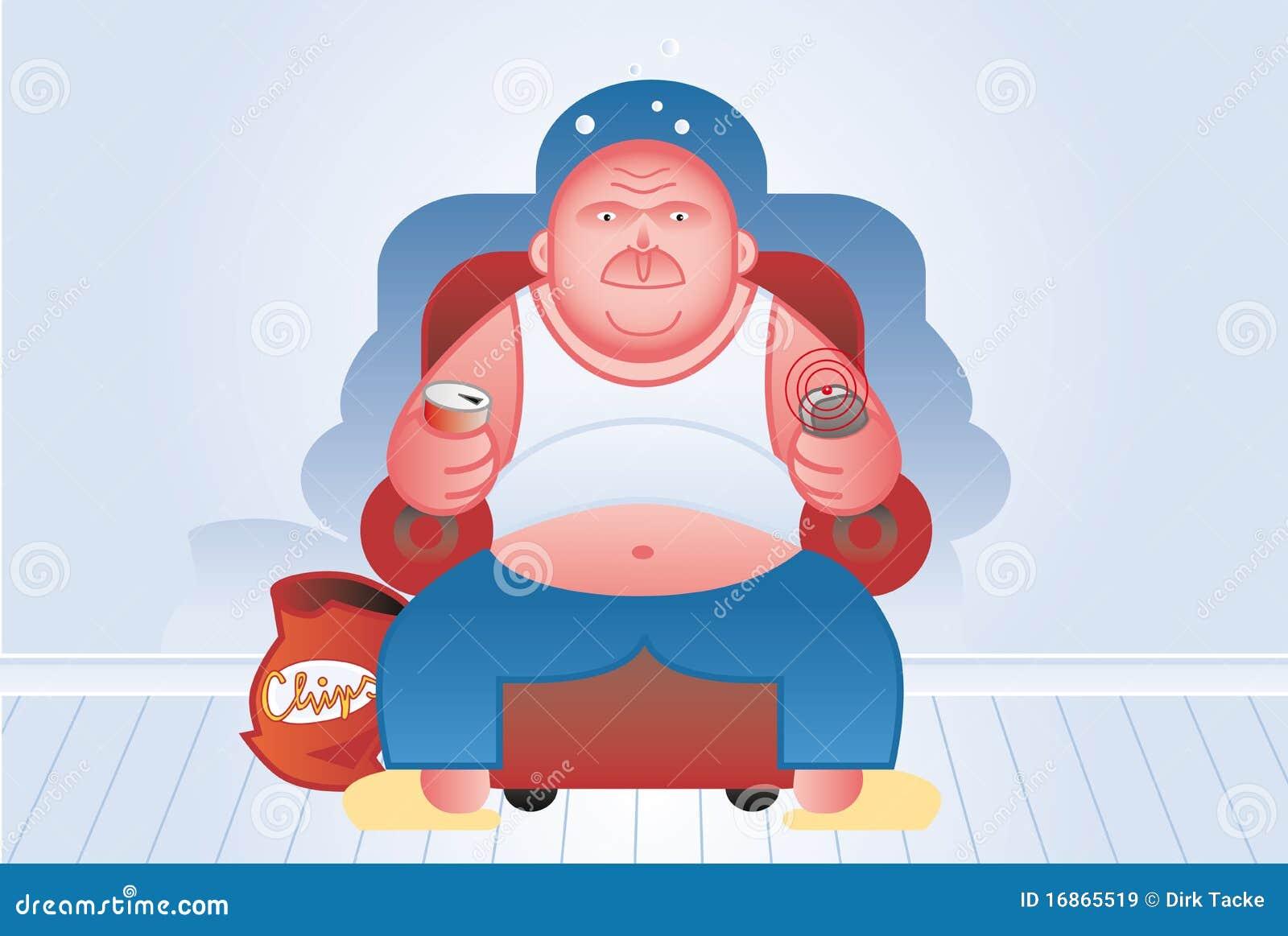 O homem gordo presta atenção à tevê