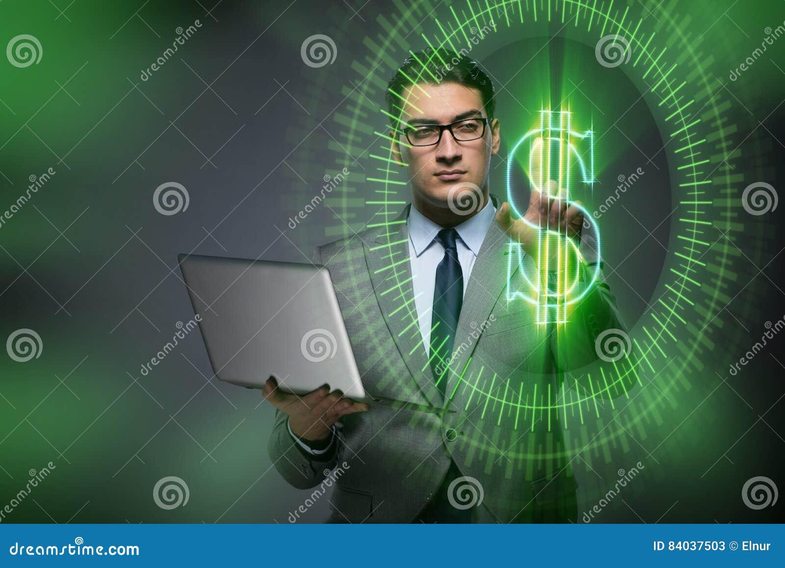 O homem no conceito em linha da troca de moeda