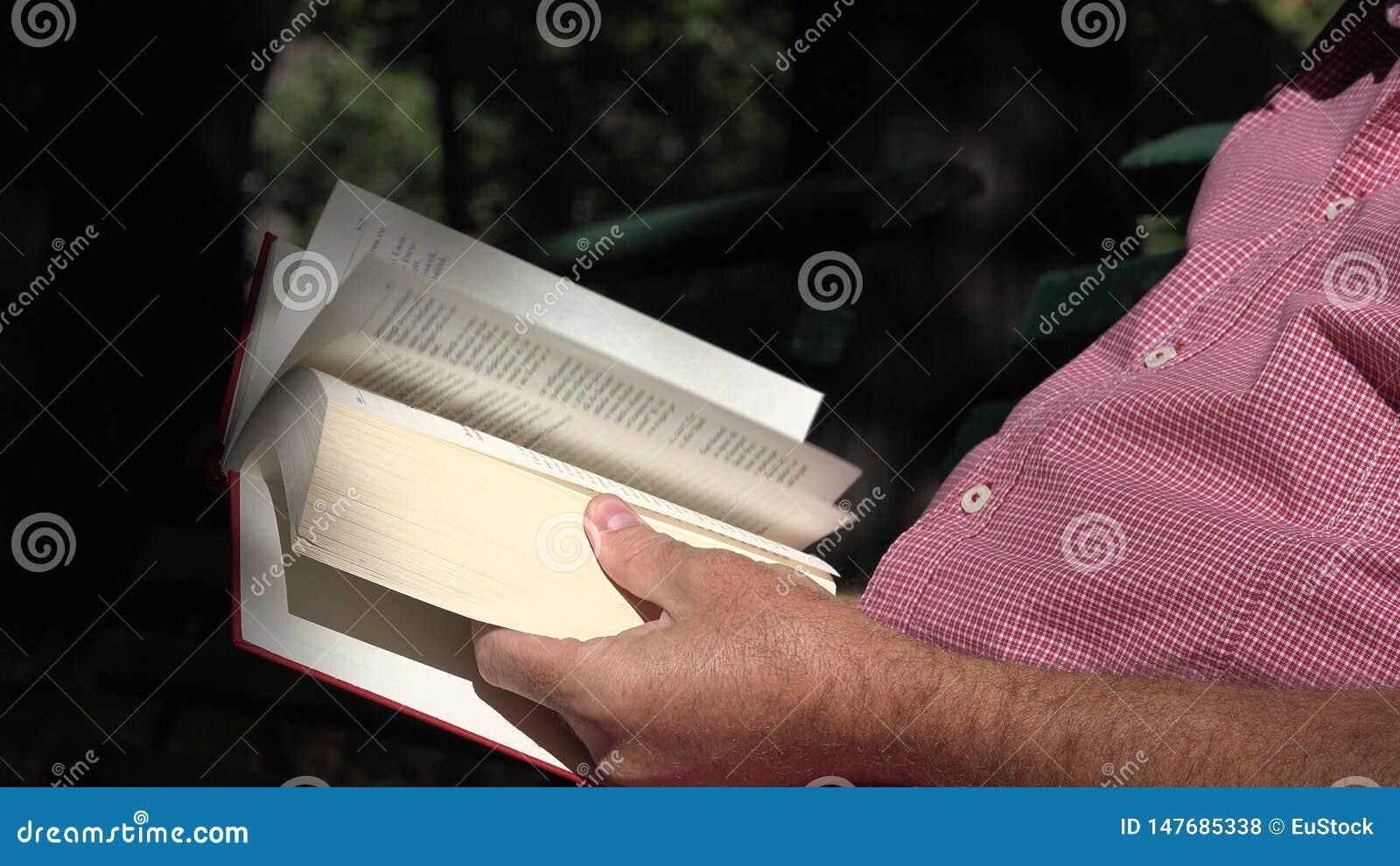 O homem no parque senta-se em um banco relaxou e leu um livro da literatura