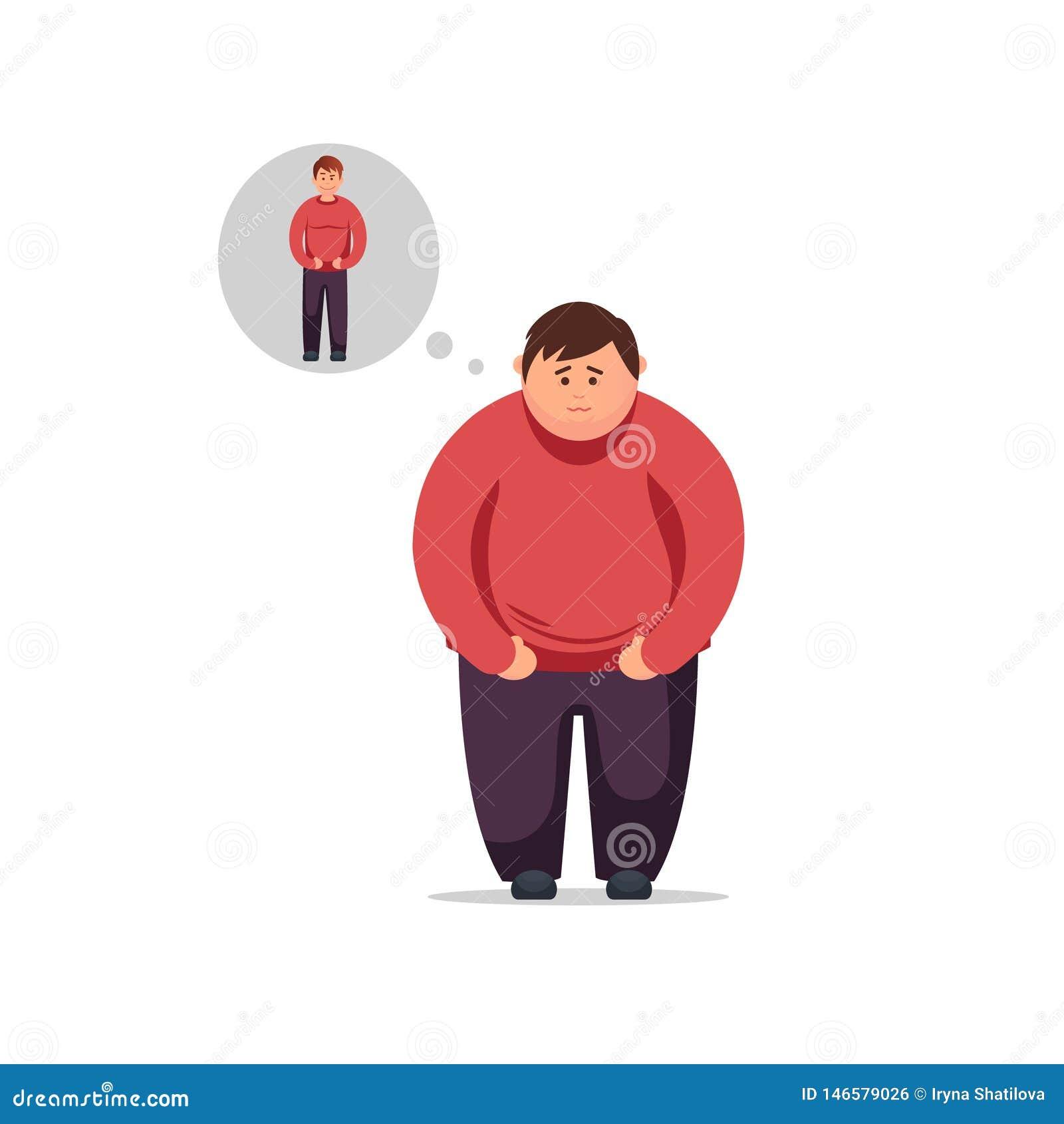 O homem novo do projeto liso pensa como perder o peso e tornar-se finamente