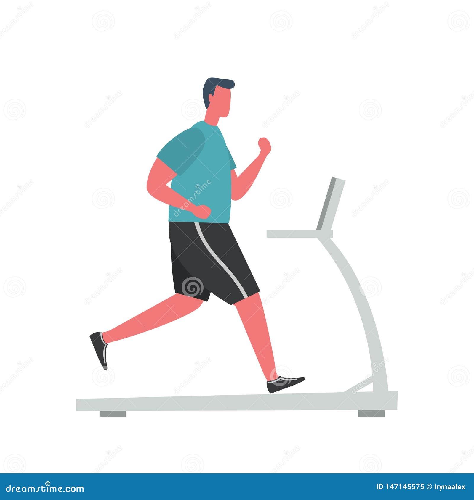 O homem novo em um uniforme desportivo está correndo em uma escada rolante Estilo liso engra?ado