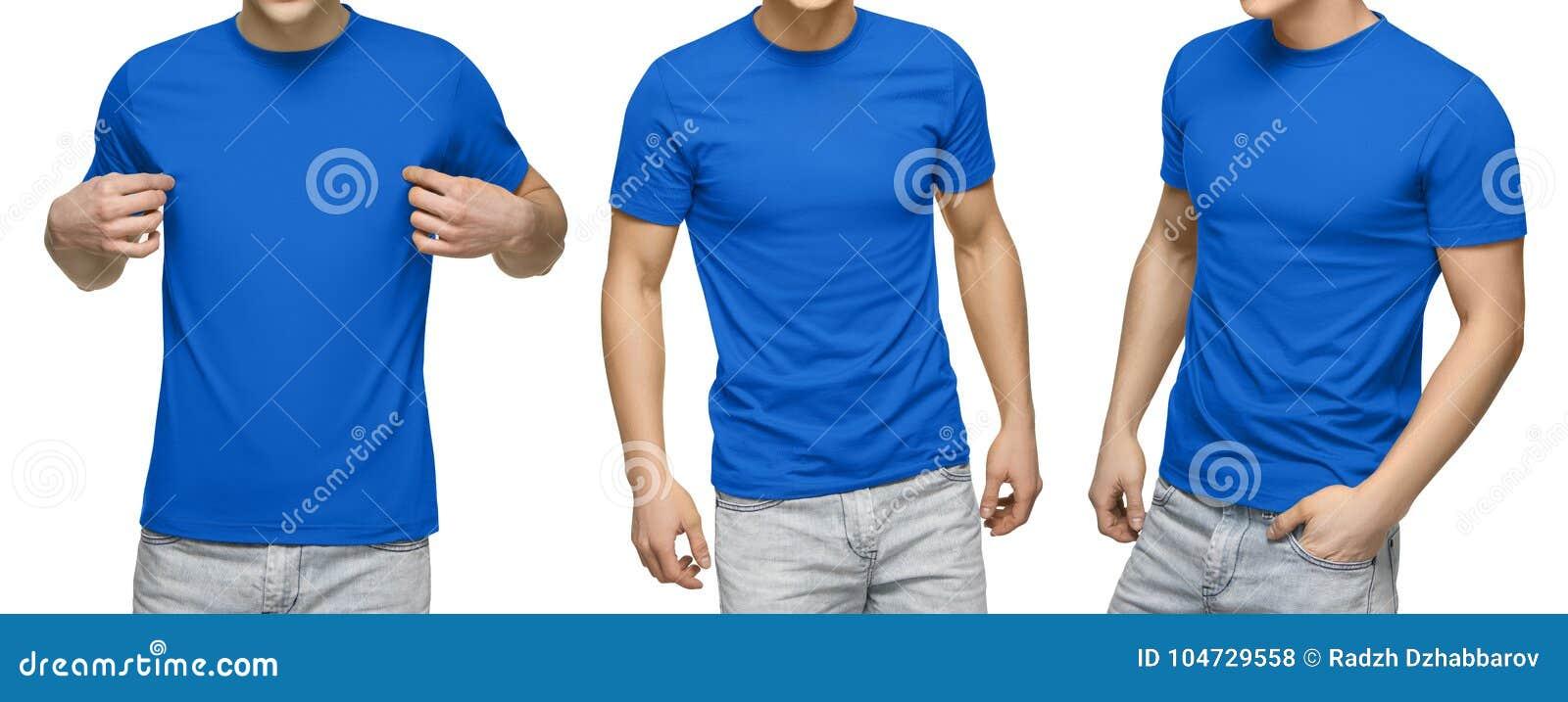O homem novo no t-shirt azul vazio, parte dianteira e vista traseira, isolou o fundo branco Projete o molde e o modelo do tshirt