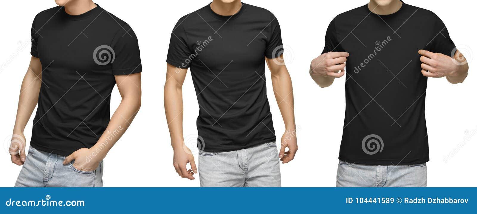 O homem novo no t-shirt preto vazio, parte dianteira e vista traseira, isolou o fundo branco Projete o molde e o modelo do tshirt
