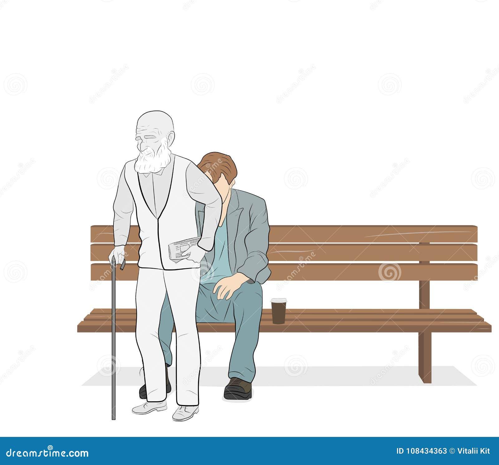 O homem novo senta-se em um banco e levanta-se velho conceito da vida humana Ilustração do vetor Processo do envelhecimento