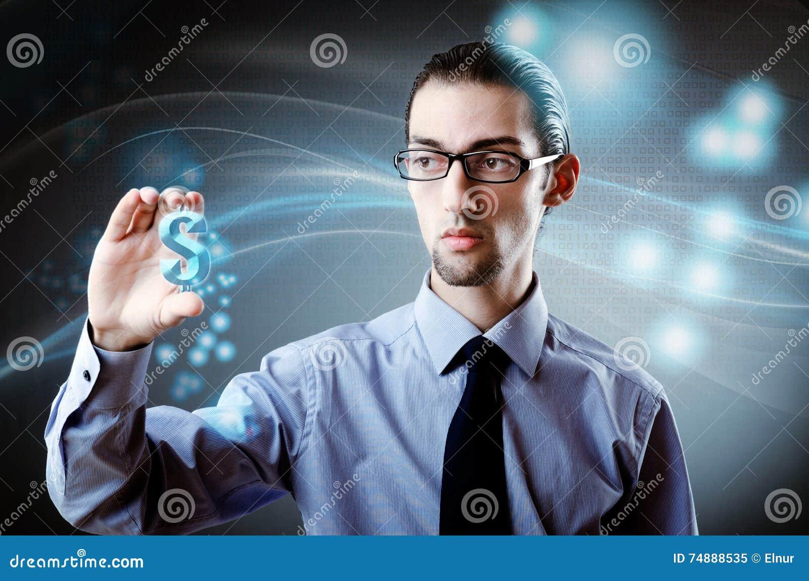 O homem que pressiona o dólar assina dentro o conceito da finança