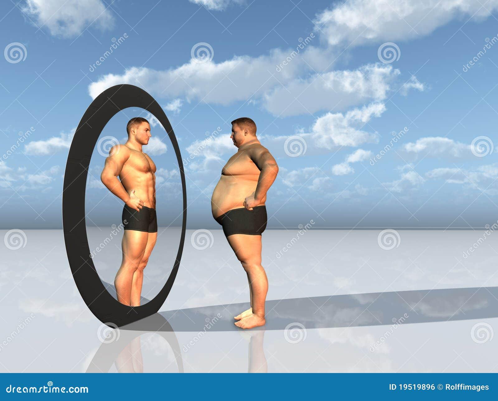 O homem vê o outro auto no espelho