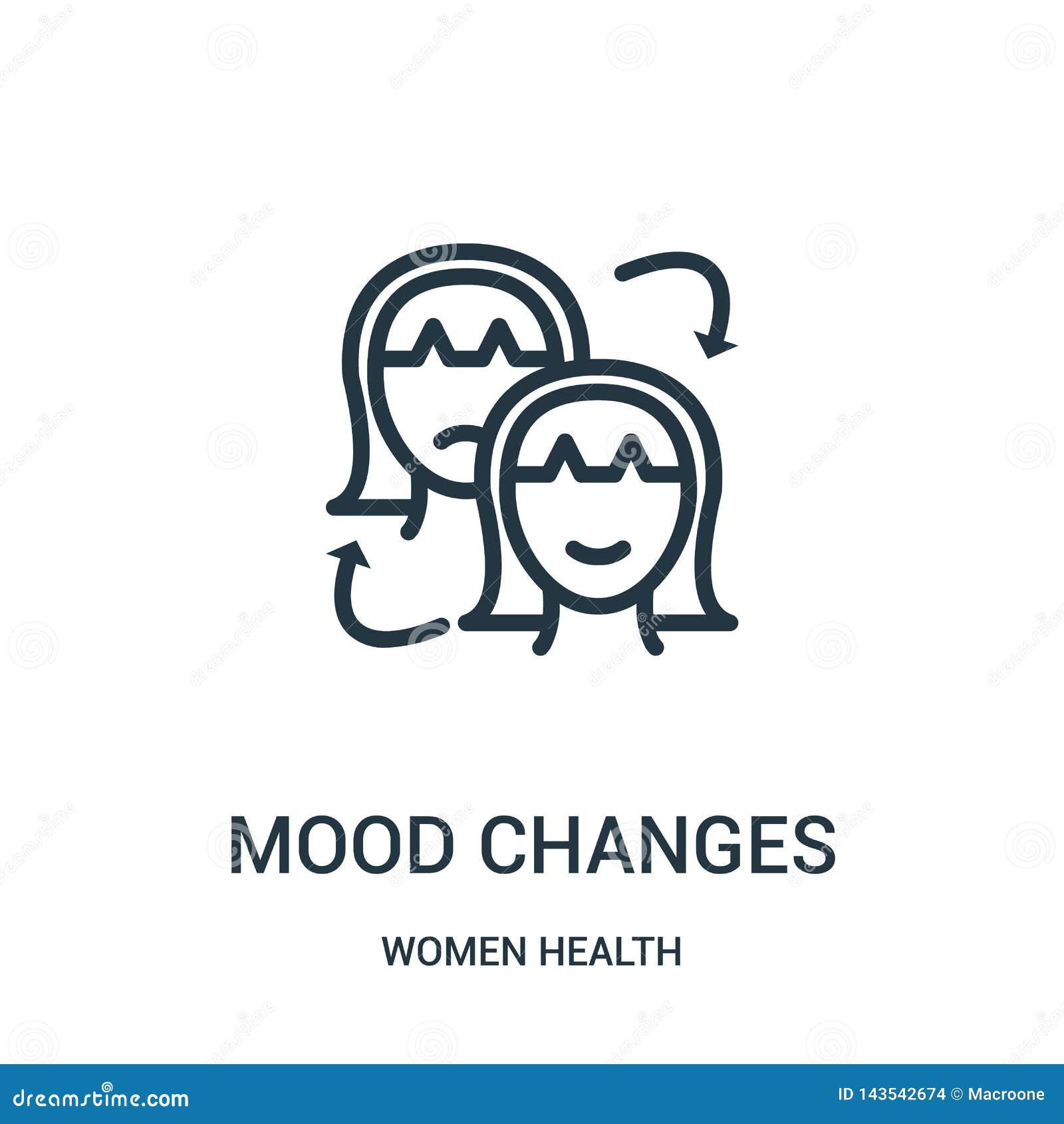 O humor muda o vetor do ícone da coleção da saúde das mulheres Linha fina ilustração do vetor do ícone do esboço das mudanças do