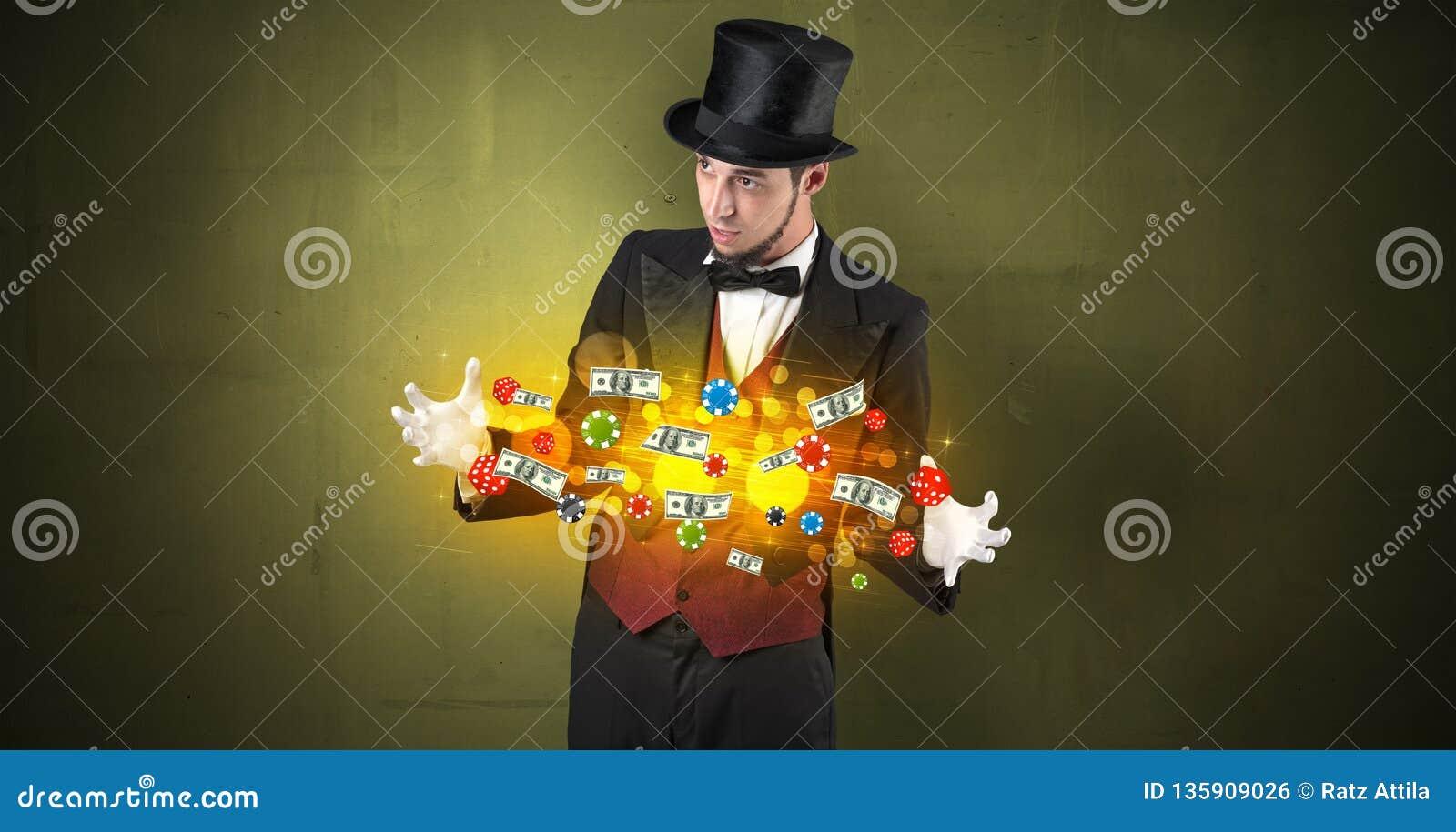 O ilusionista conjura com seu pessoal de jogo da mão