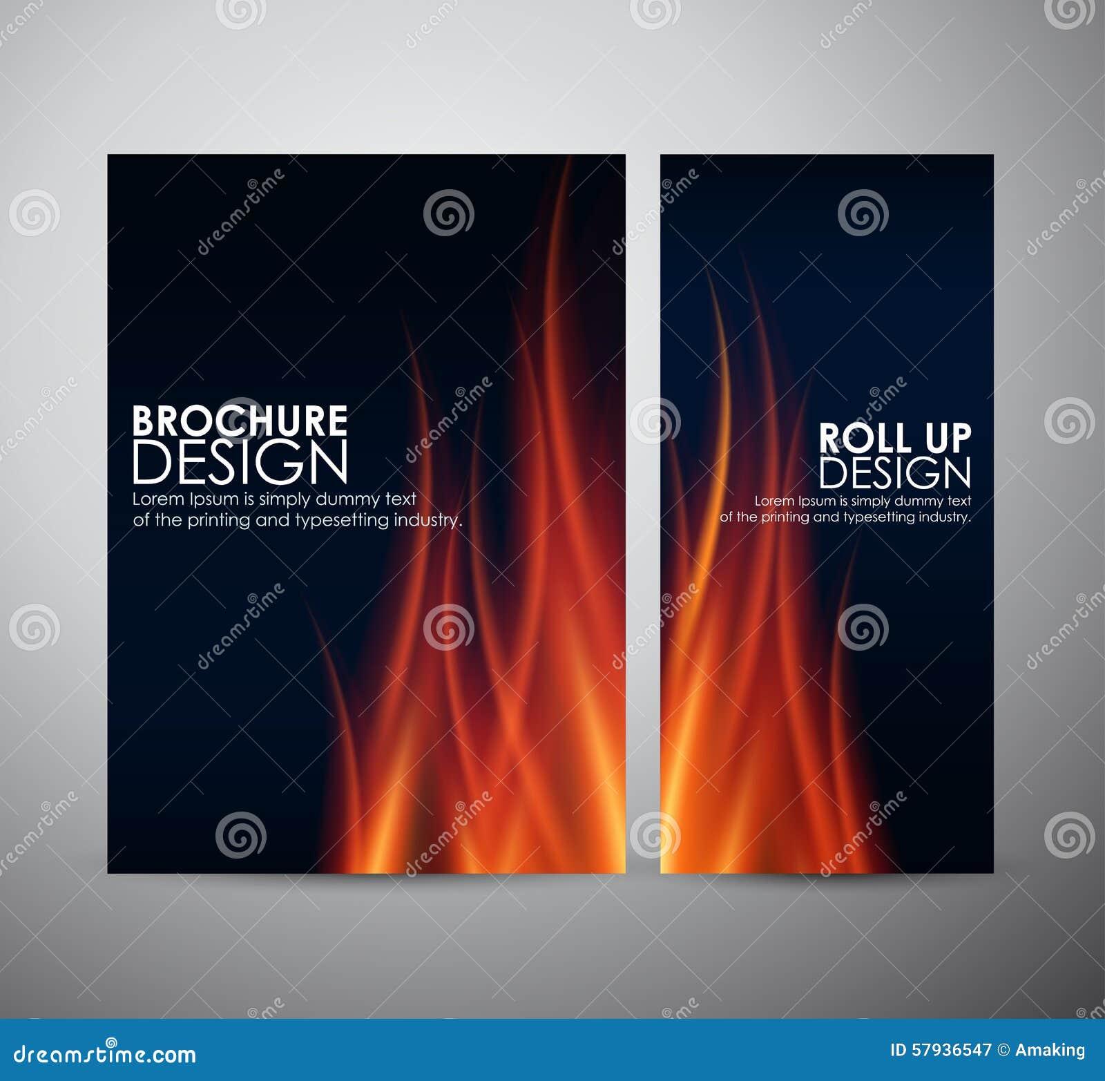 O incêndio inflama o fundo O molde do projeto de negócio do folheto ou rola acima