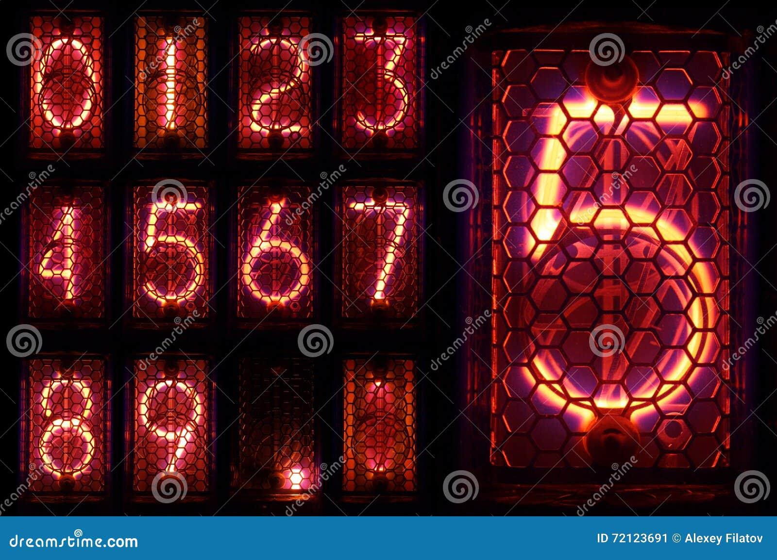 O indicador real do tubo de Nixie um grupo de dígitos decimais