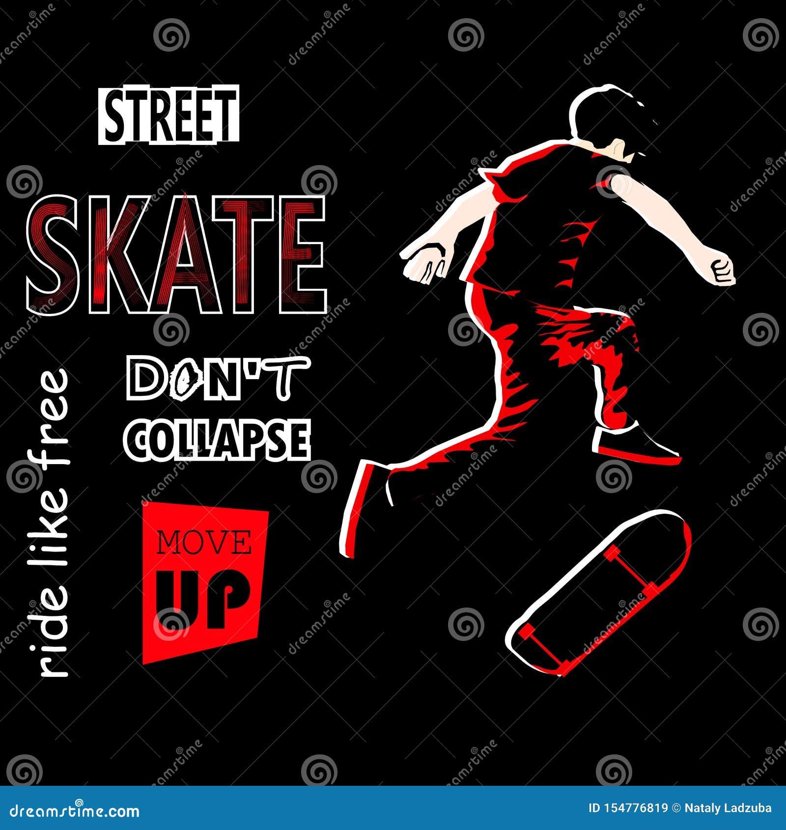 O indivíduo à moda monta um skate nas sapatilhas skateboard skateboarder Patinador art?stica Ilustração do vetor para um cartão o