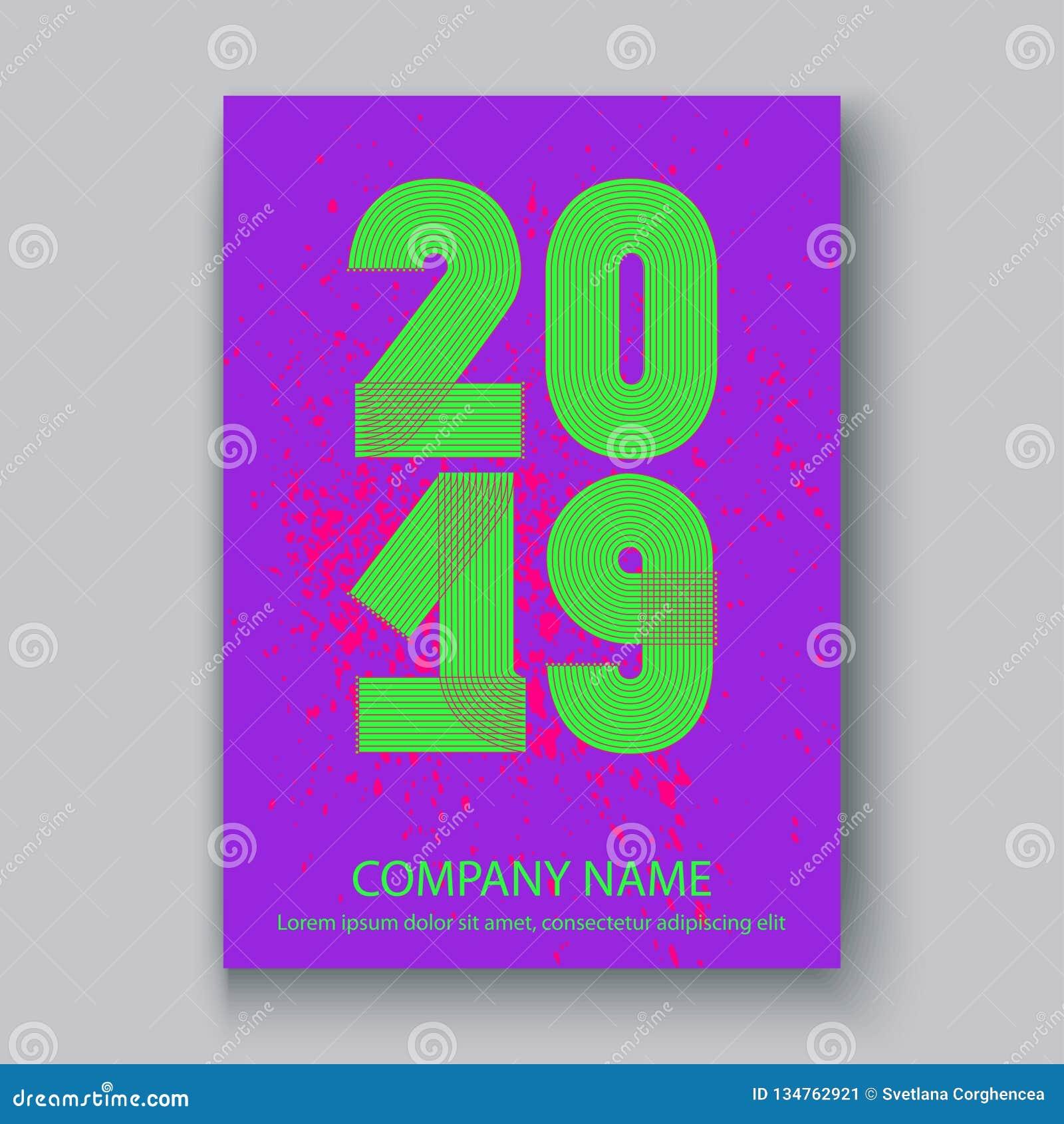O informe anual da tampa numera 2019, sp de néon colorido do projeto moderno