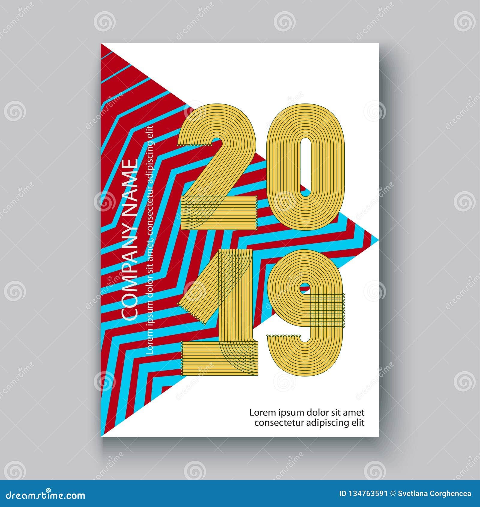 O informe anual da tampa numera 2019, zi de néon colorido do projeto moderno