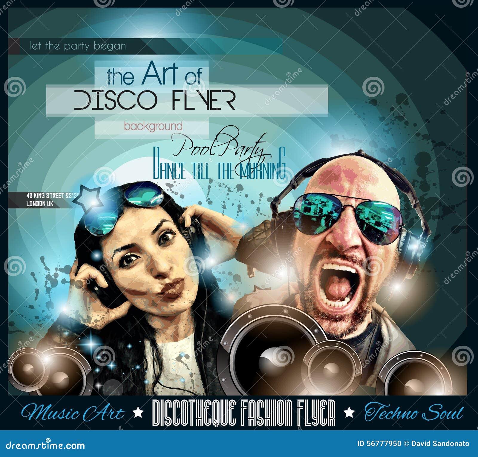 O inseto do disco do clube ajustou-se com DJs e fundos coloridos