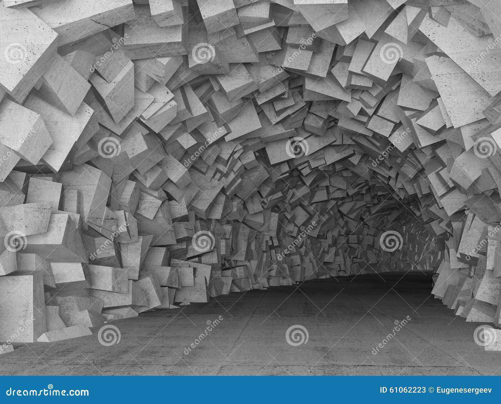 O interior concreto de giro do túnel, 3d rende