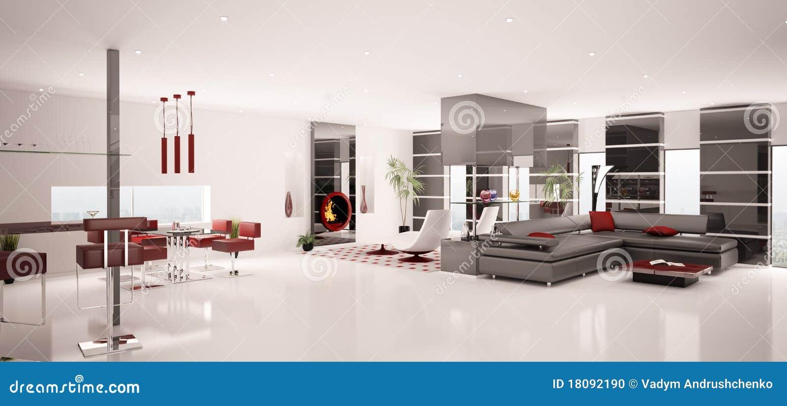 O interior do panorama moderno 3d do apartamento rende for Einrichtung 3d