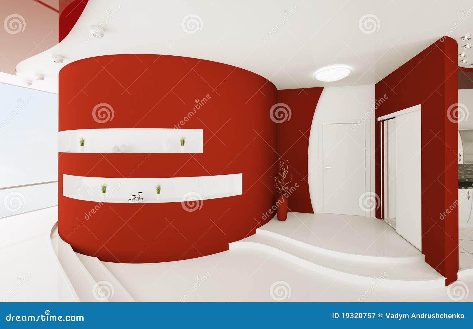 O interior do salão de entrada branco vermelho 3d rende