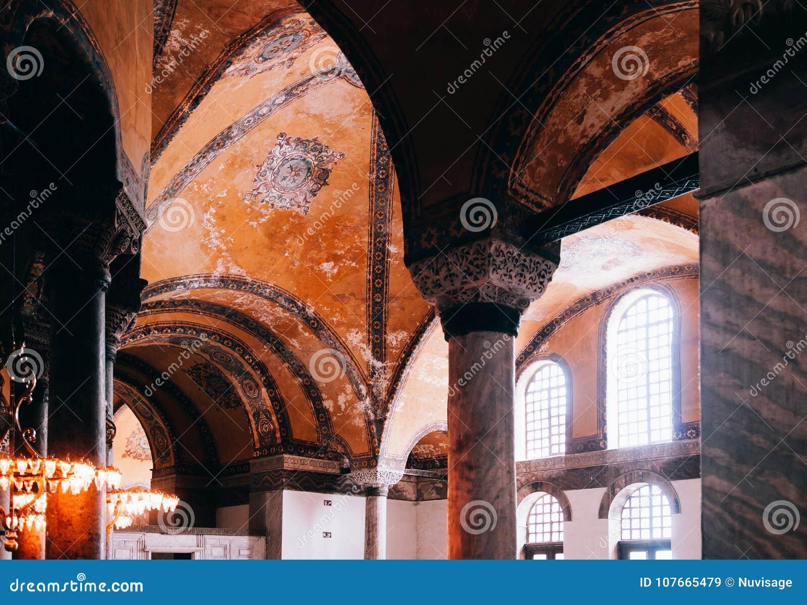O interior extraordinário de Hagia Sophia detalha Istambul Turquia - AR