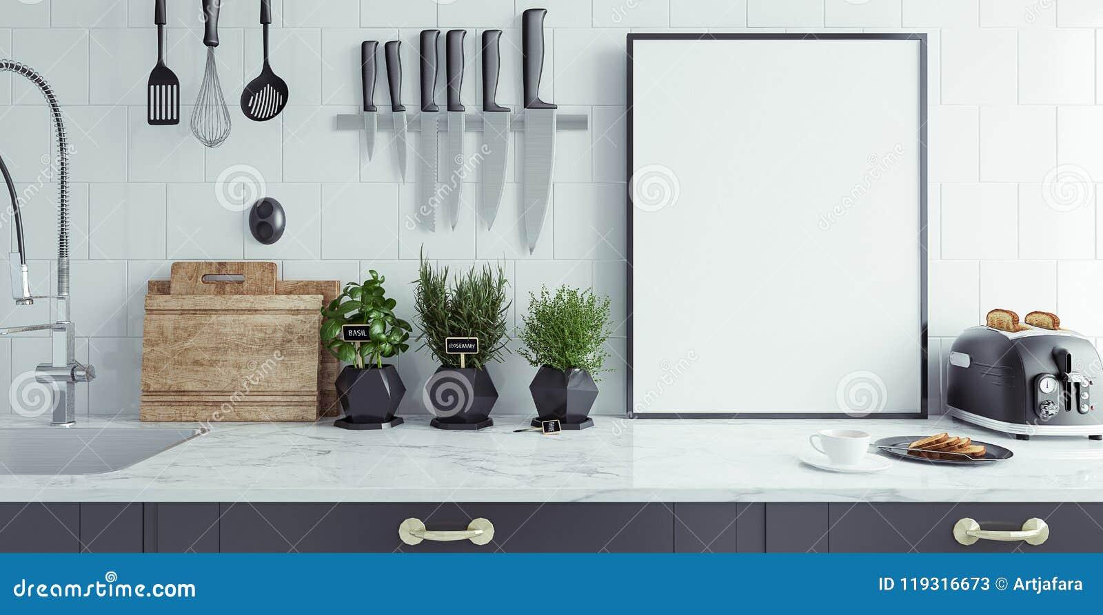 O interior moderno da cozinha com bandeira vazia, zomba acima