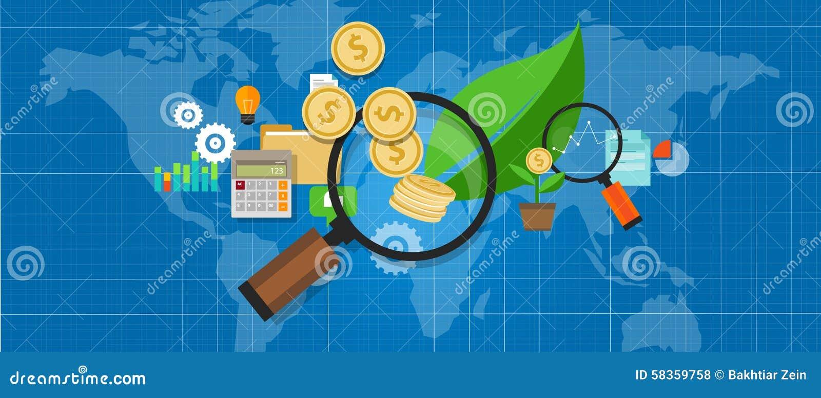 O investimento investe o investation da folha da árvore da lente de aumento do dinheiro do crescimento