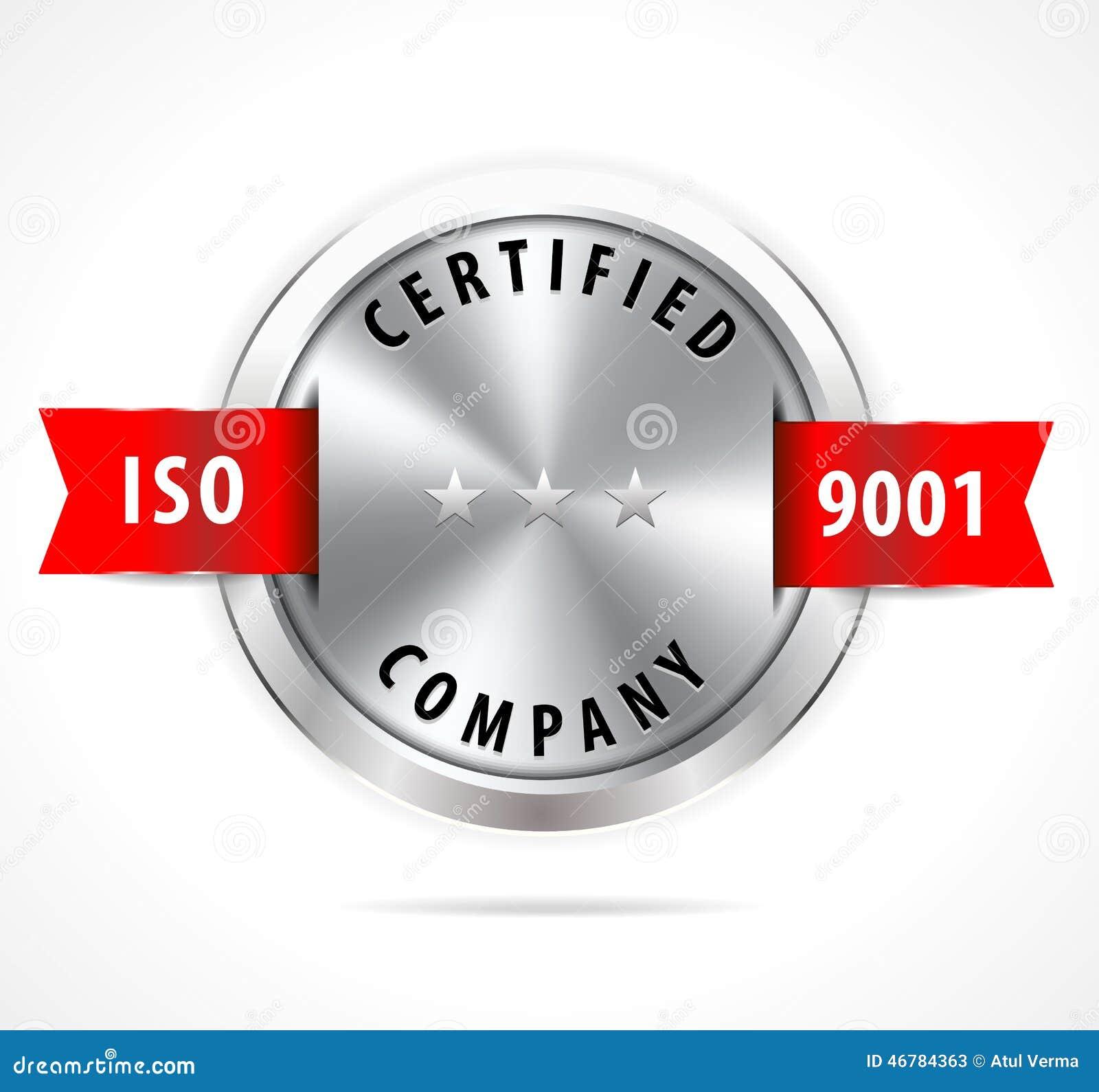 O ISO 9001 certificou, o crachá de prata com fita vermelha - vector eps10