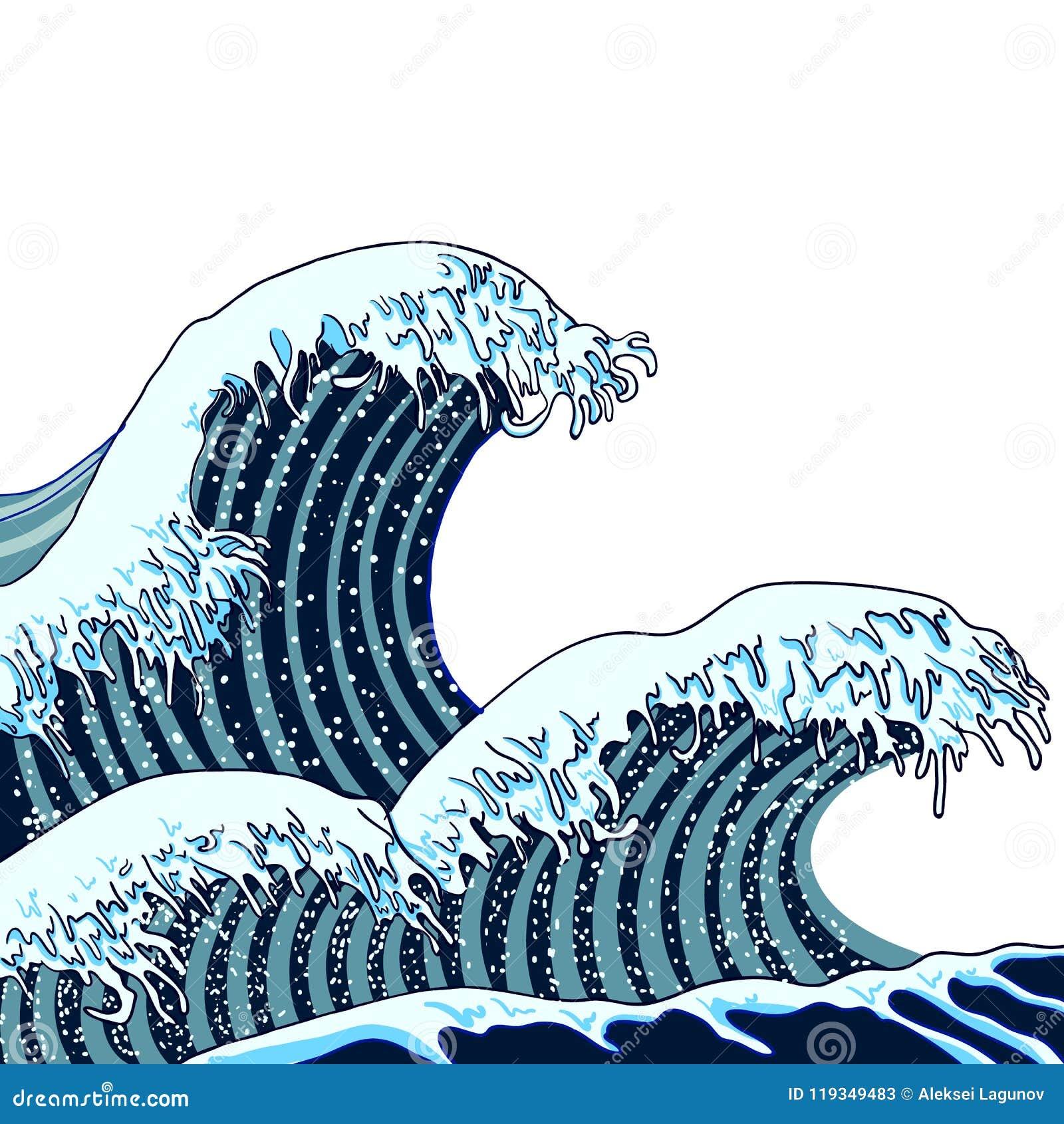 O japonês do vetor acena a ilustração, arte asiática tradicional, pintura, mar tirado mão
