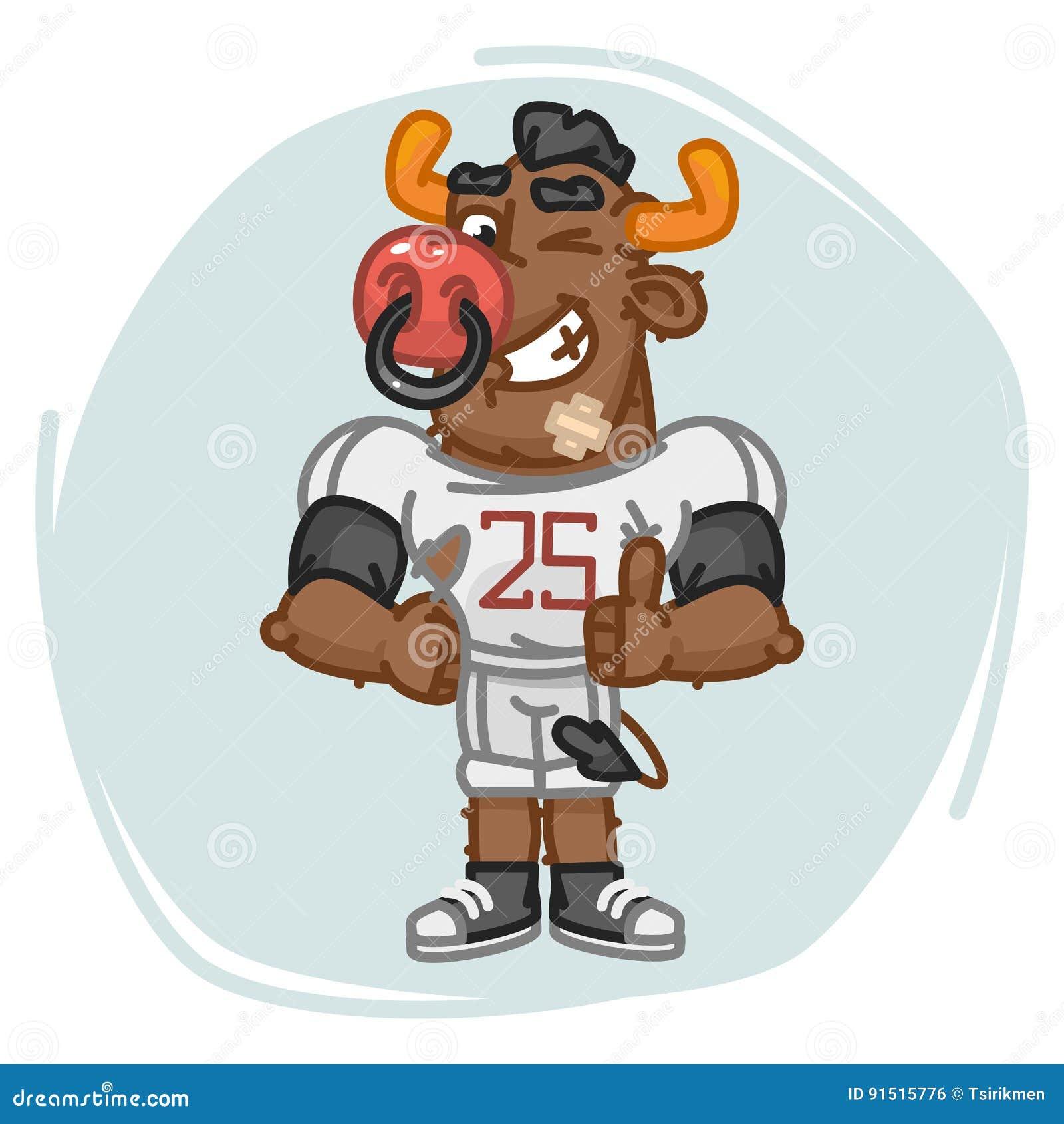 O jogador de futebol de Bull mostra o dedo acima e pisc