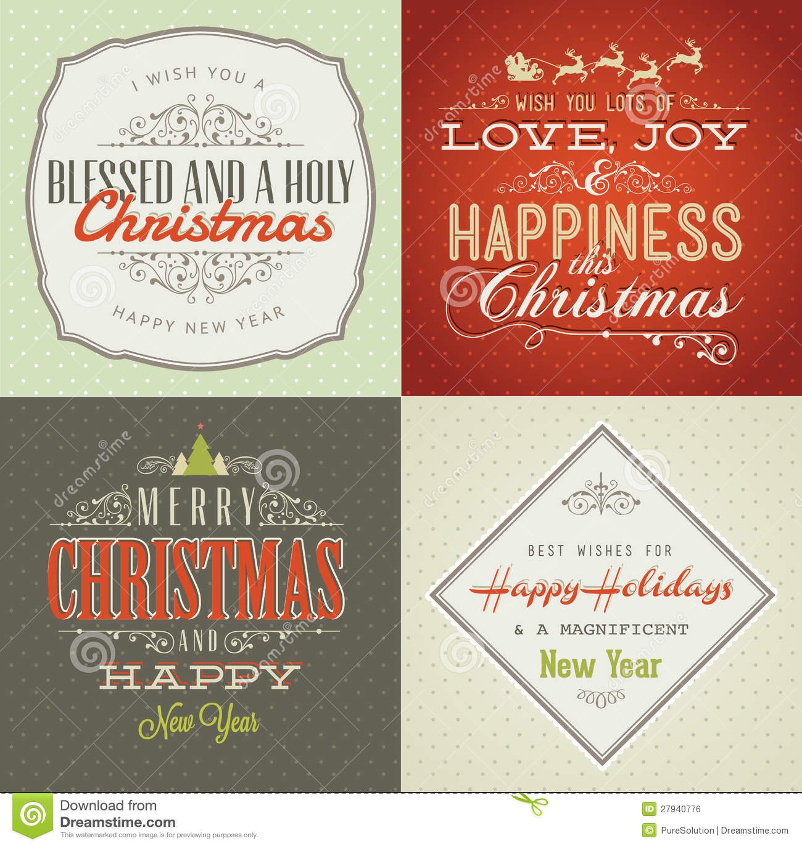 O jogo do vintage denominou cartões do Natal e do ano novo