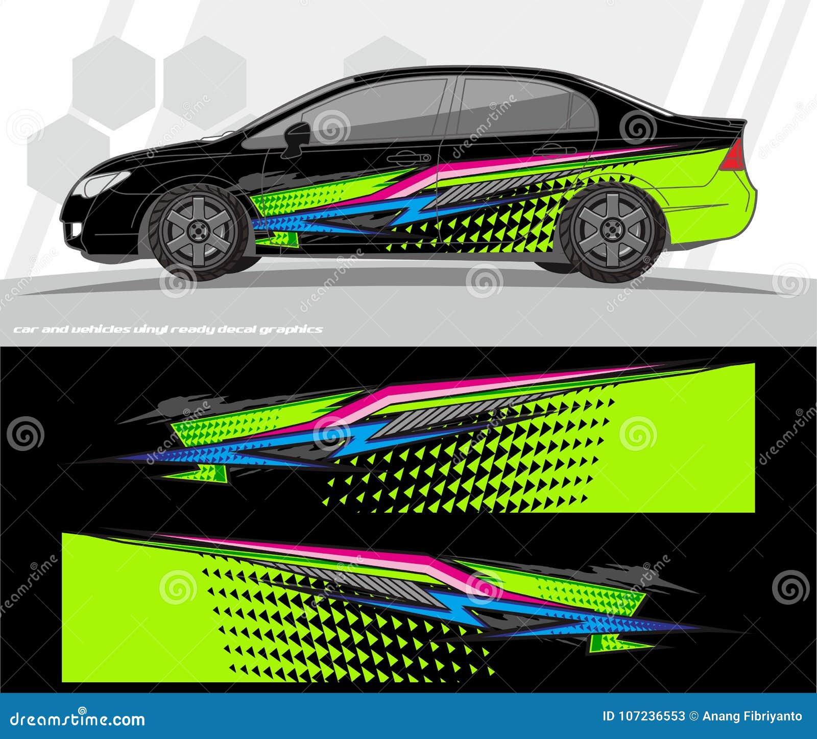 O jogo dos gráficos do decalque do carro e do envoltório dos veículos projeta apronte para imprimir e cortar para etiquetas do vi