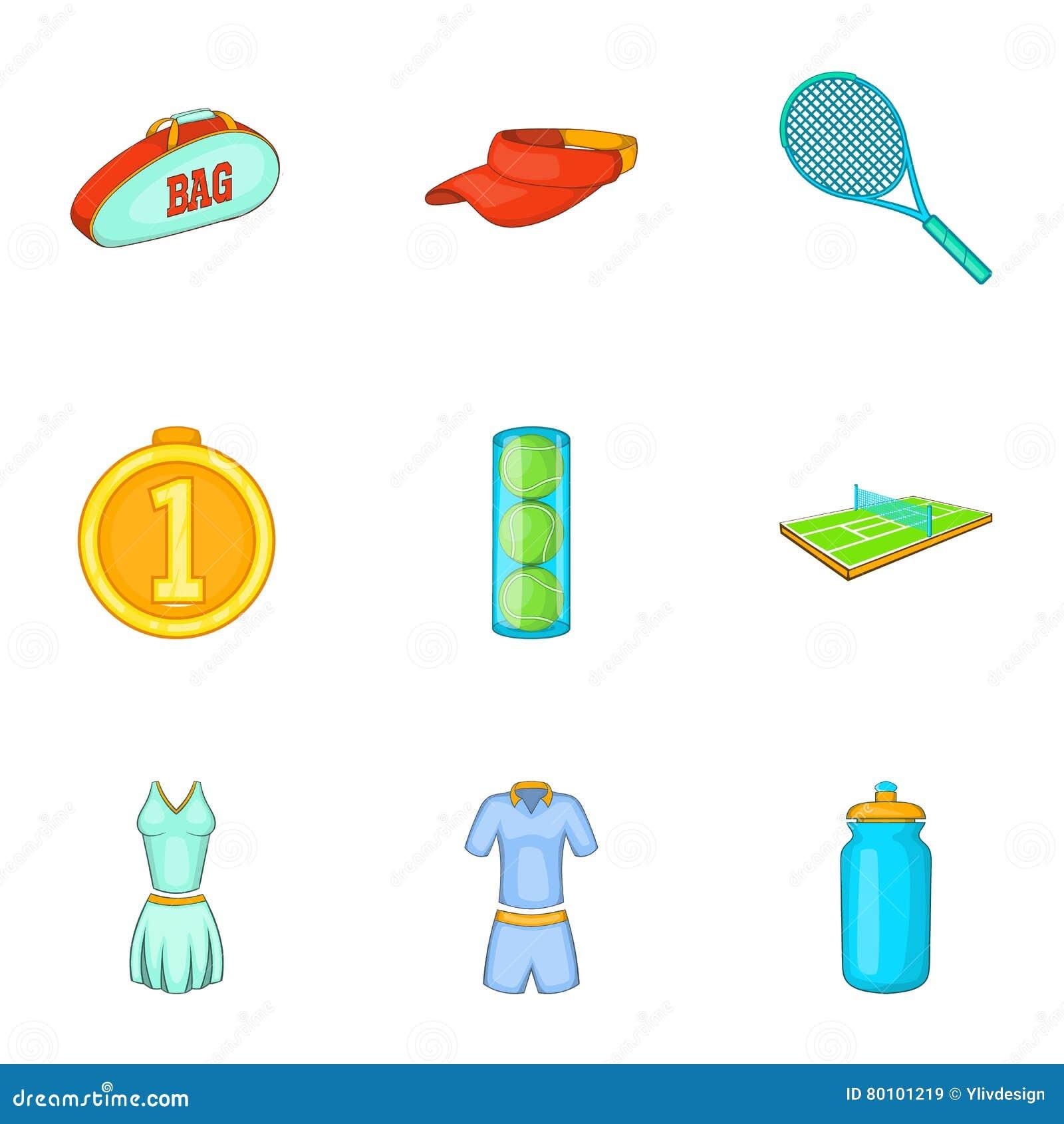 O jogo em ícones do tênis ajustou-se, estilo dos desenhos animados