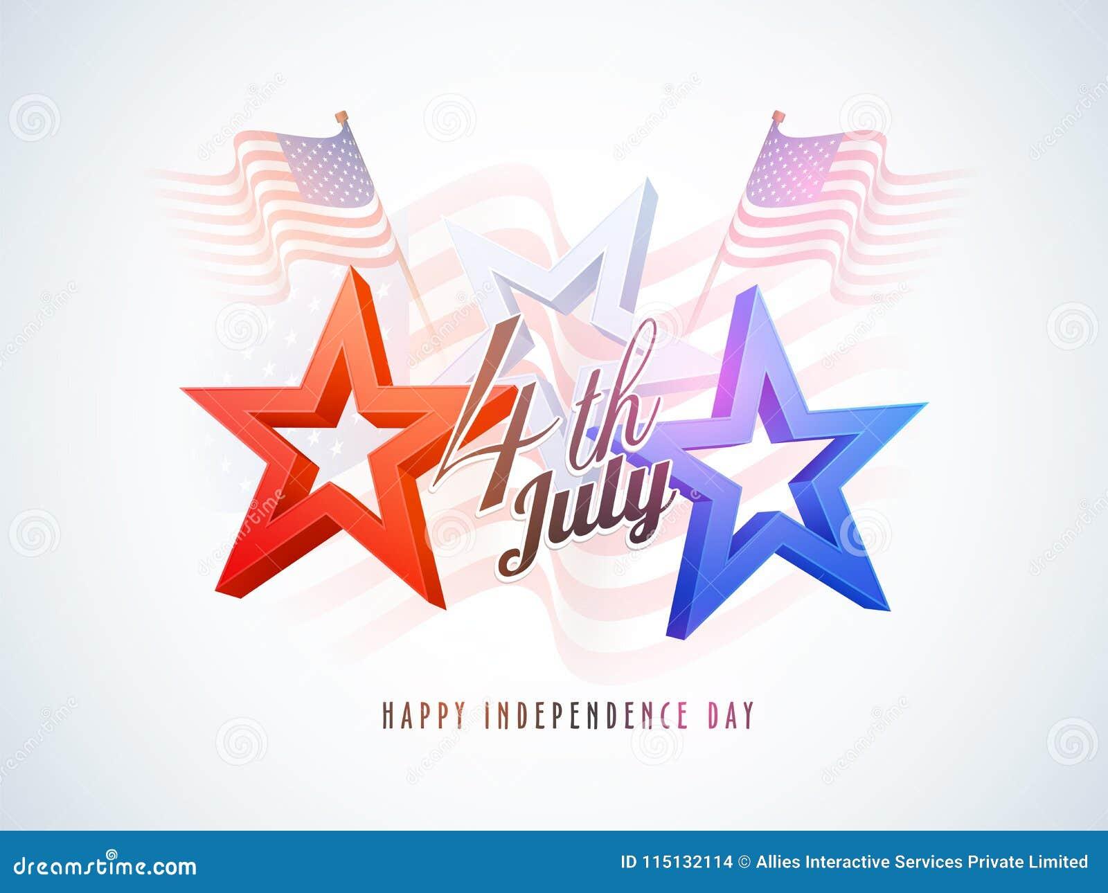 4o julho, conceito da celebração com estrelas, bandeiras de ondulação