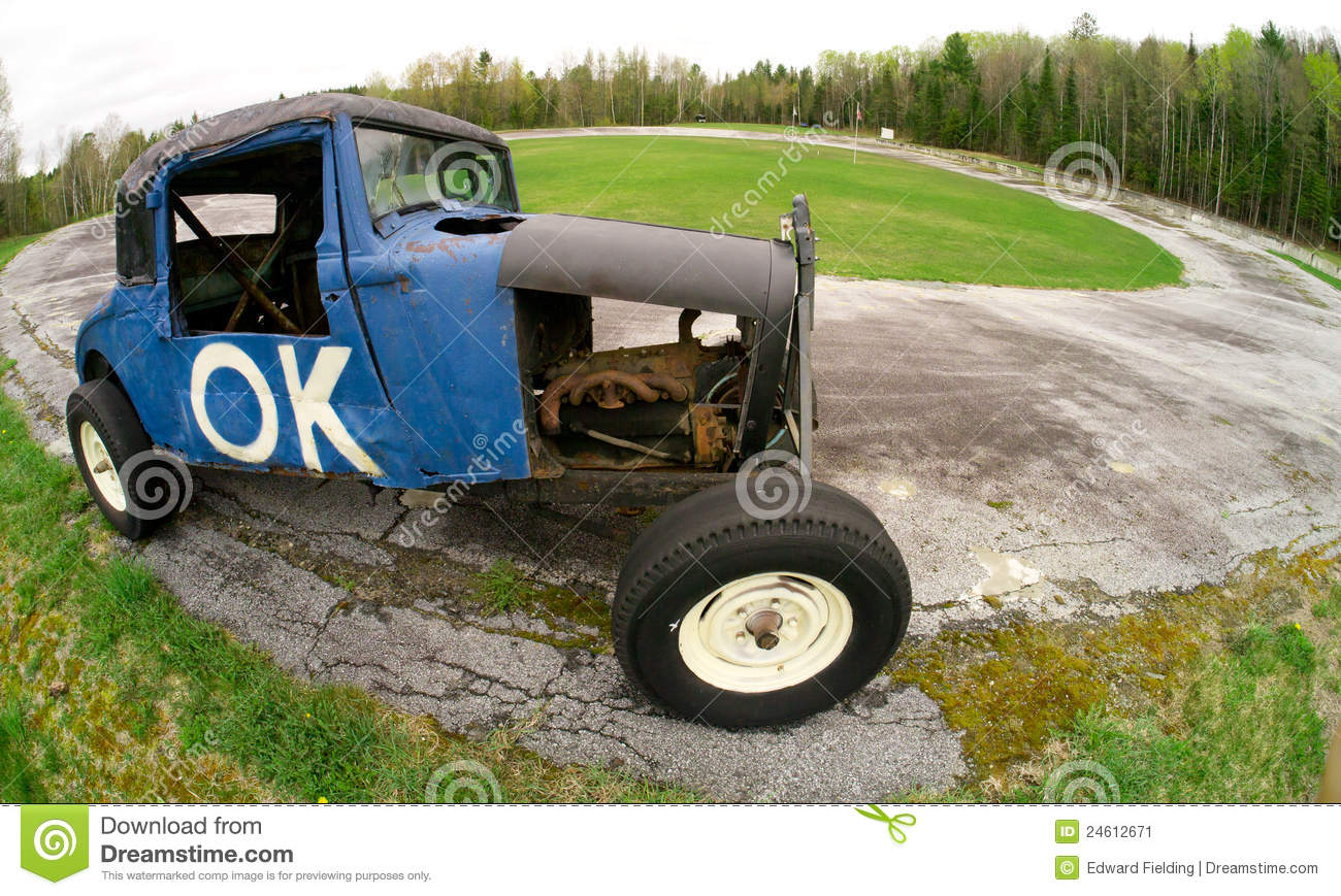 O.K. Old Race Car At A Vintage Speedway Race Track Stock Image ...