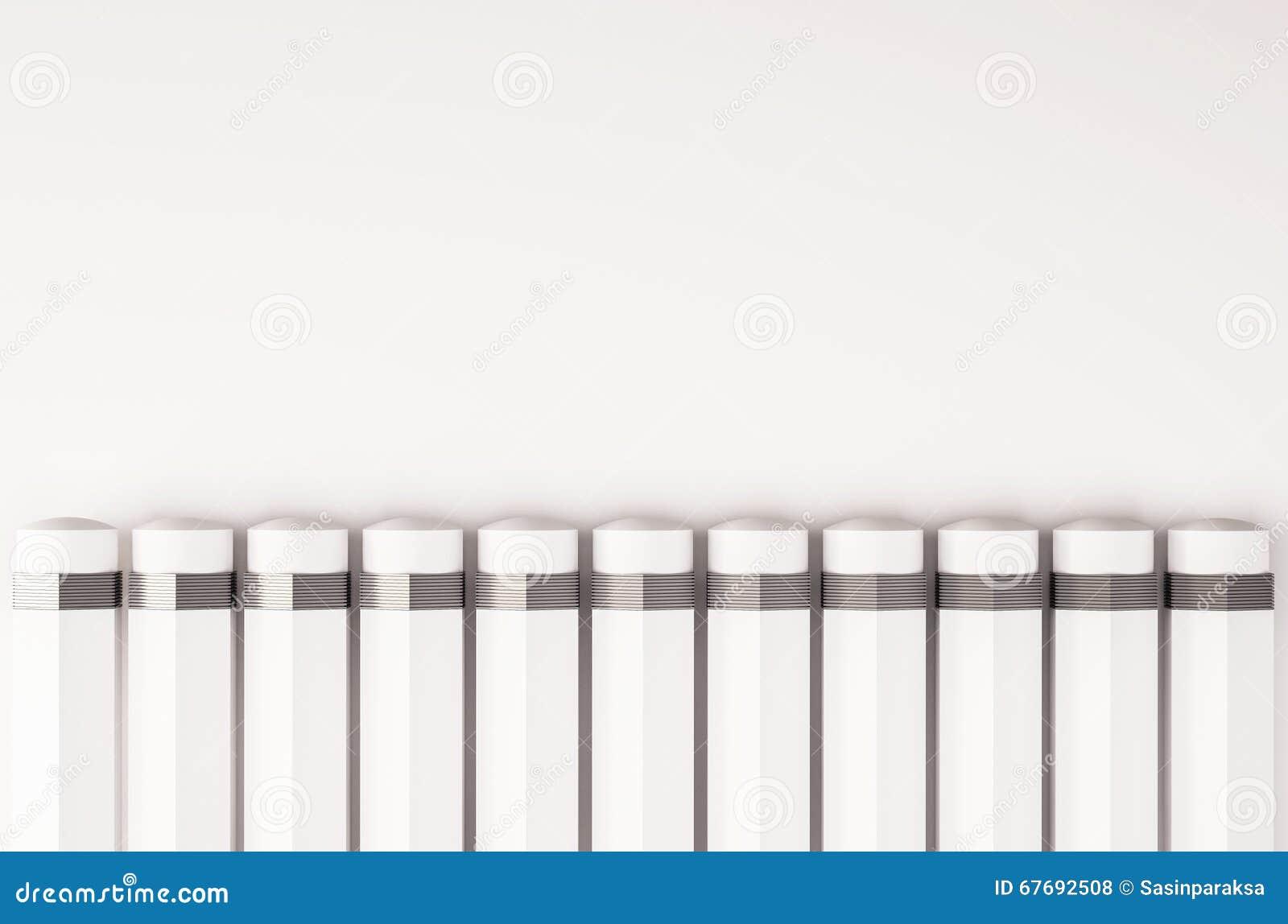O lápis arranja em seguido, com espaço da cópia, 3D rendido